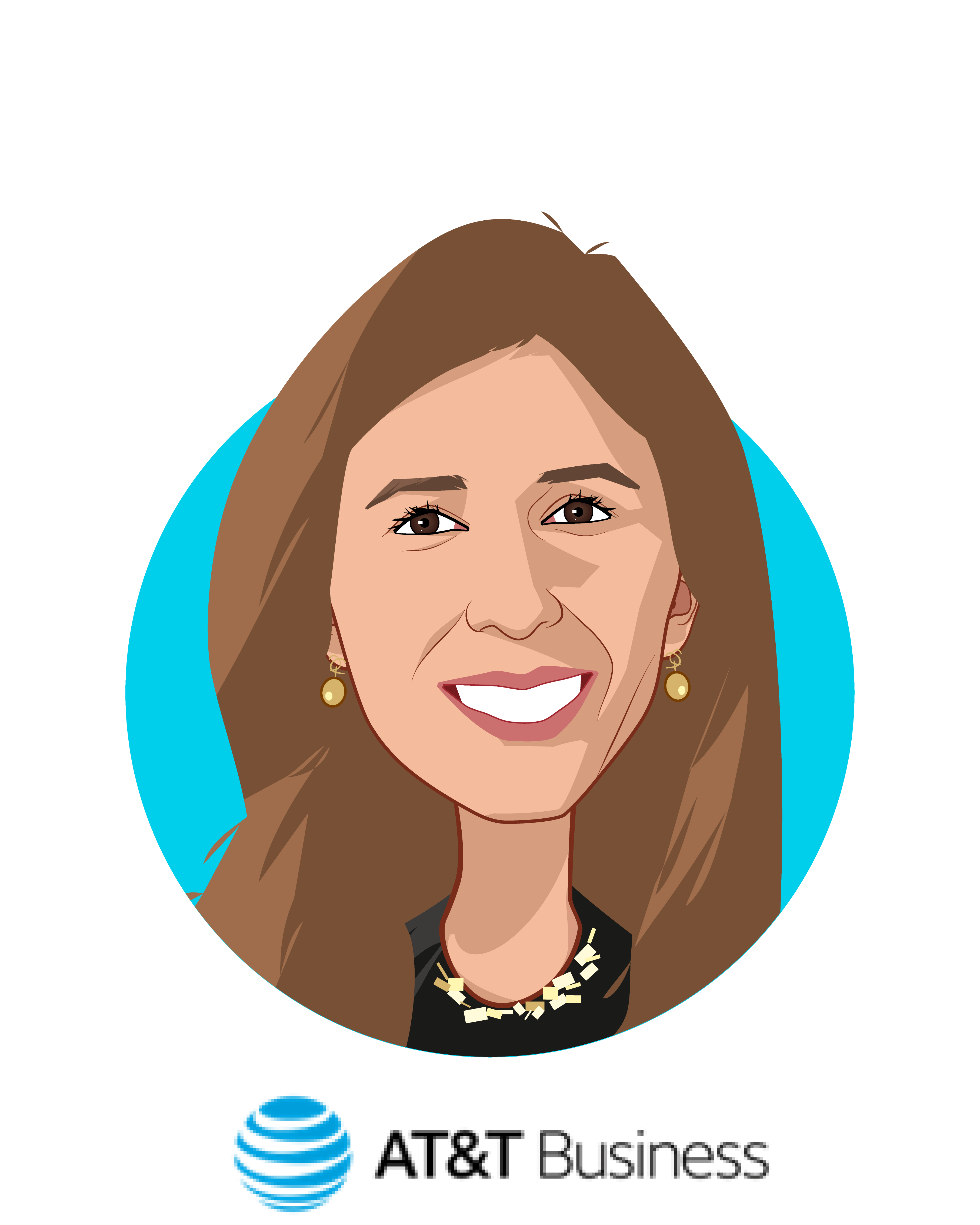 Main caricature of Maria Lensing, who is speaking at HLTH and is VP, Healthcare Solutions at AT&T Business