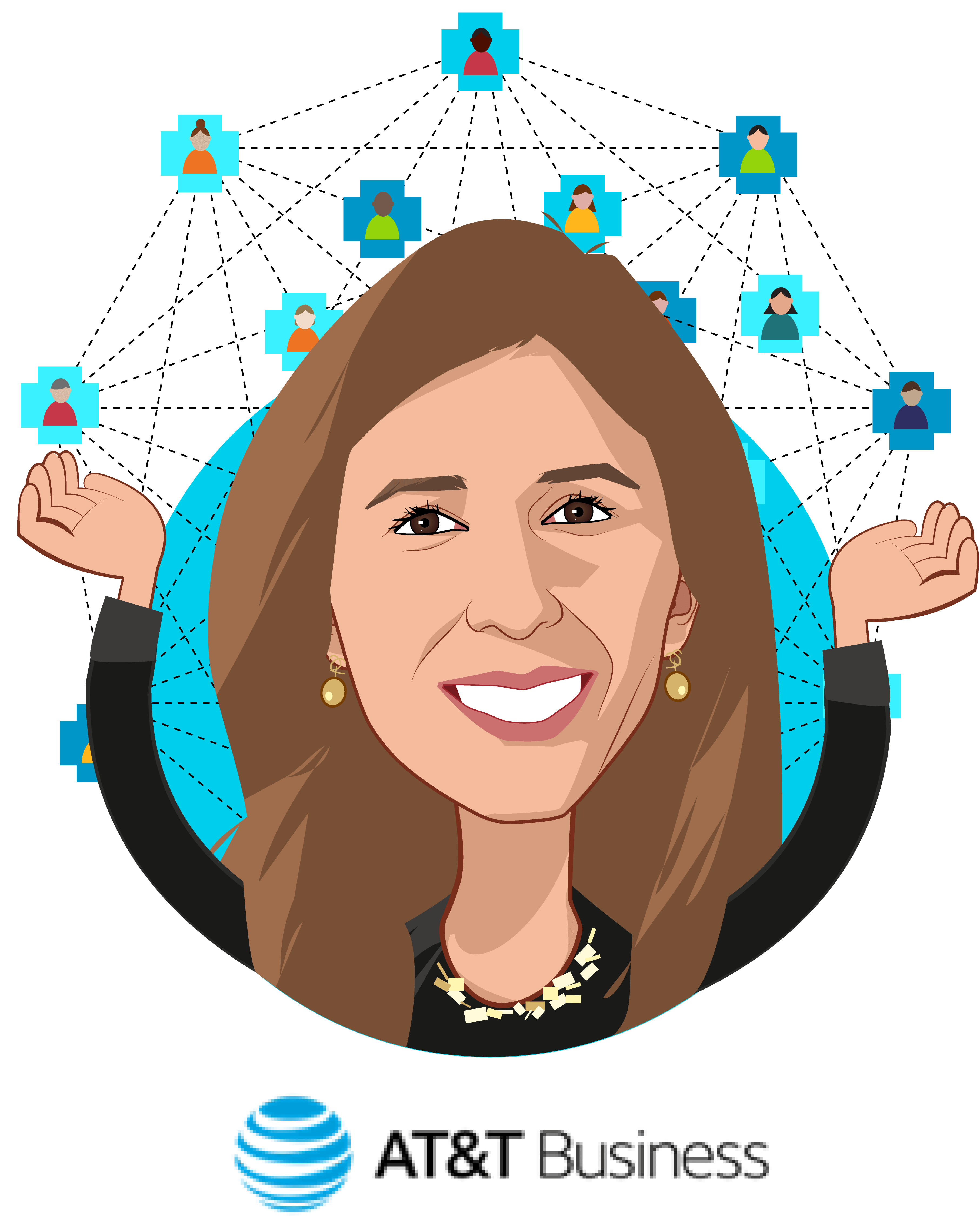 Overlay caricature of Maria Lensing, who is speaking at HLTH and is VP, Healthcare Solutions at AT&T Business