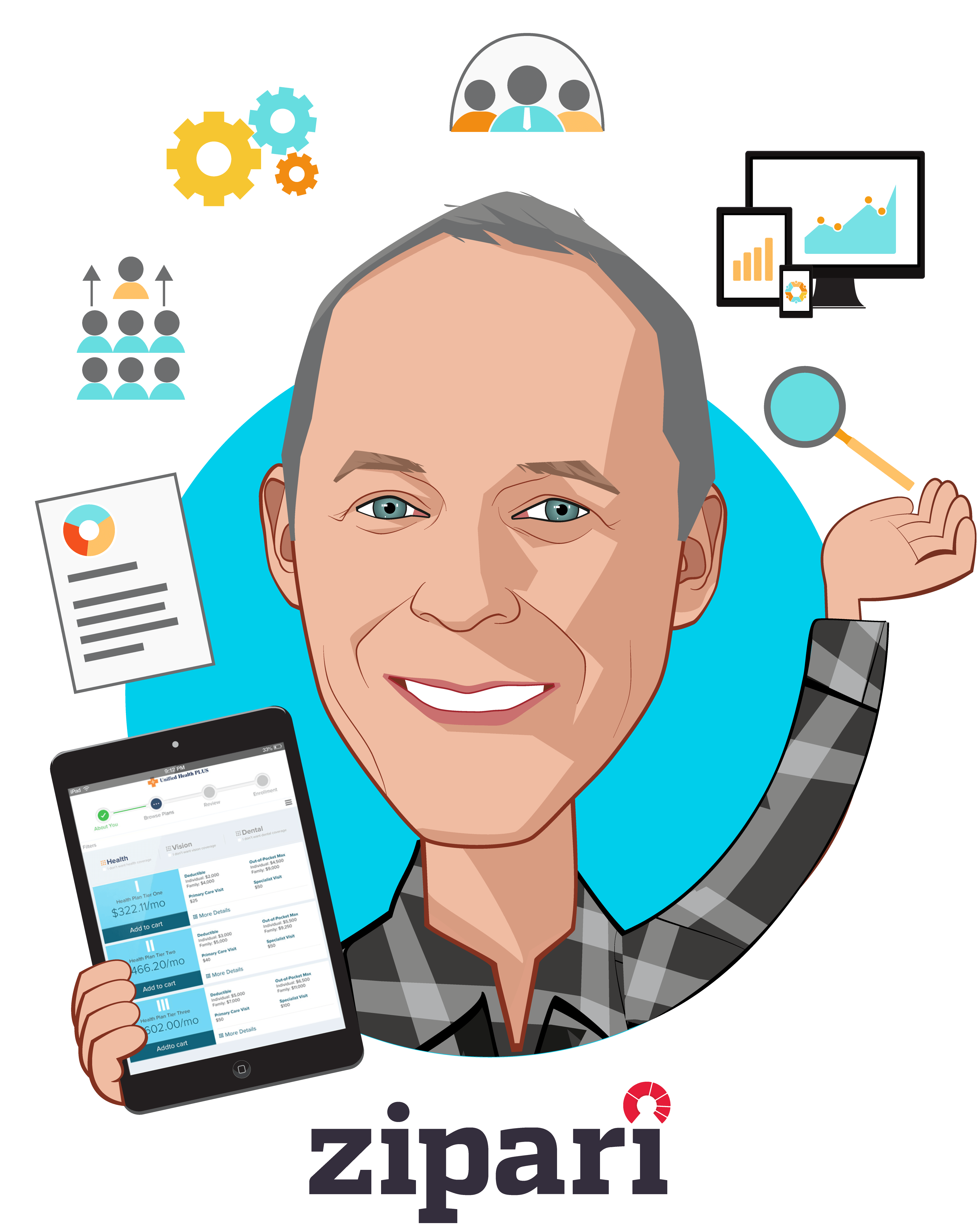 Overlay caricature of Mark Nathan, who is speaking at HLTH and is CEO and Founder at Zipari