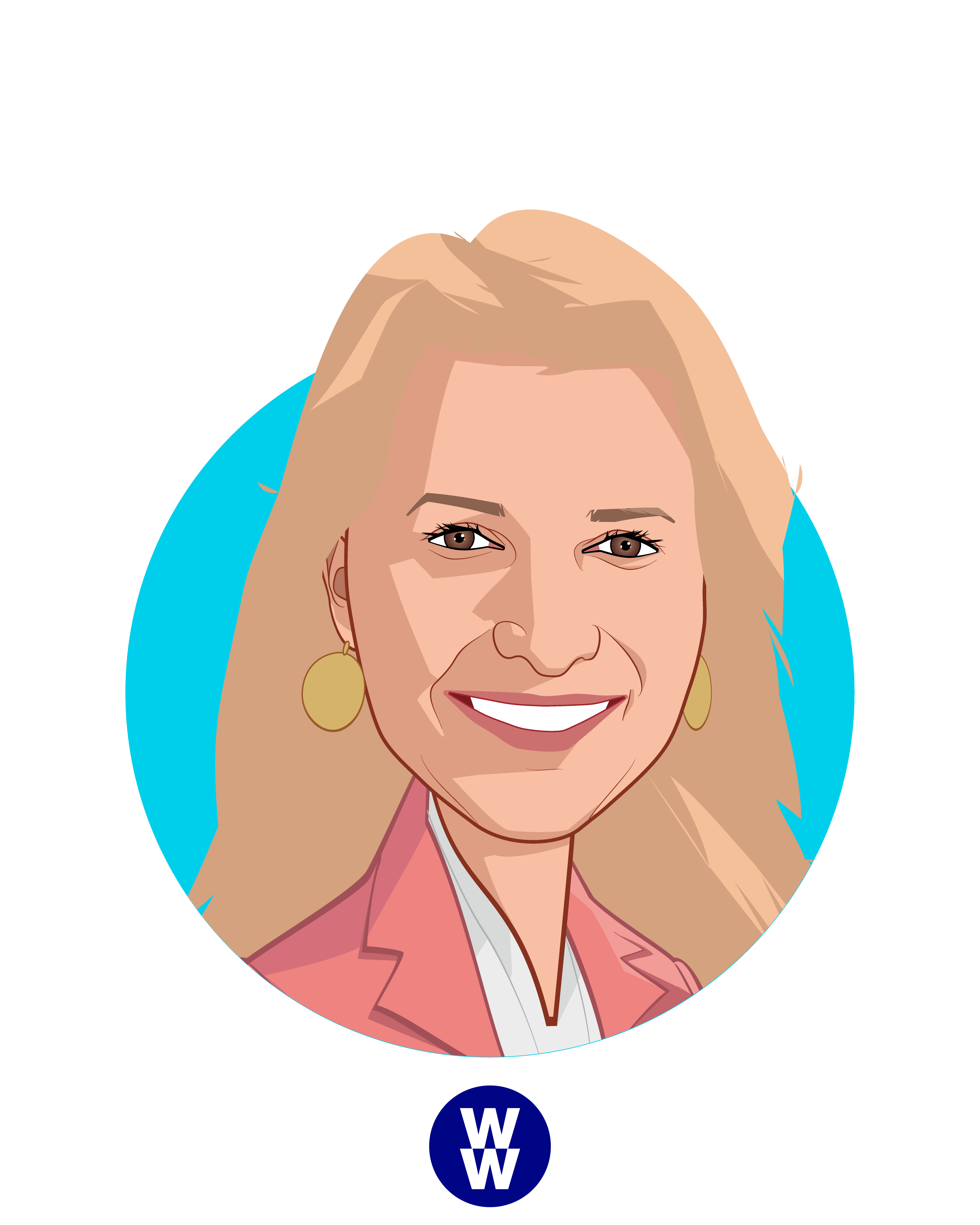 Main caricature of Mindy Grossman, who is speaking at HLTH and is President and CEO at WW