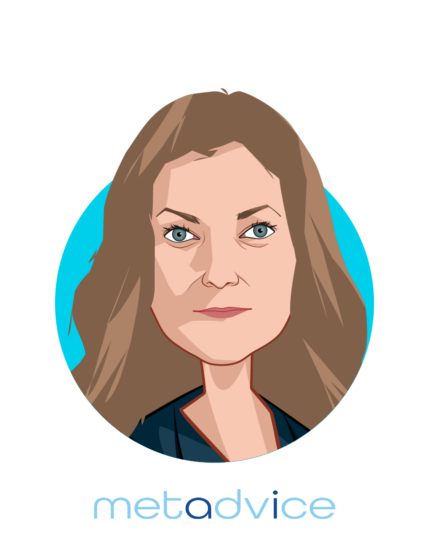 Main caricature of Dr. Natalie Pankova, who is speaking at HLTH and is Chief Operating Officer at Metadvice