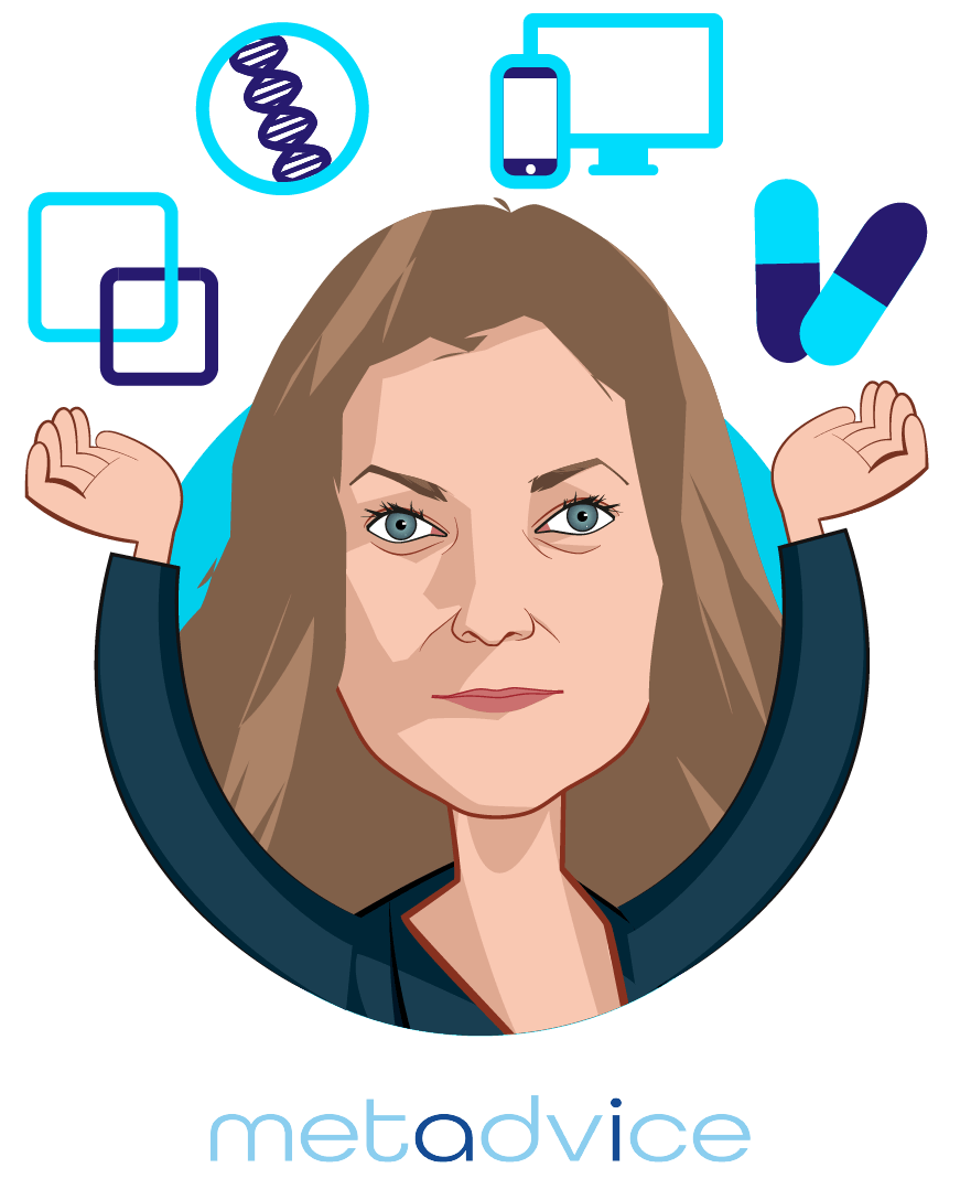 Overlay caricature of Dr. Natalie Pankova, who is speaking at HLTH and is Chief Operating Officer at Metadvice