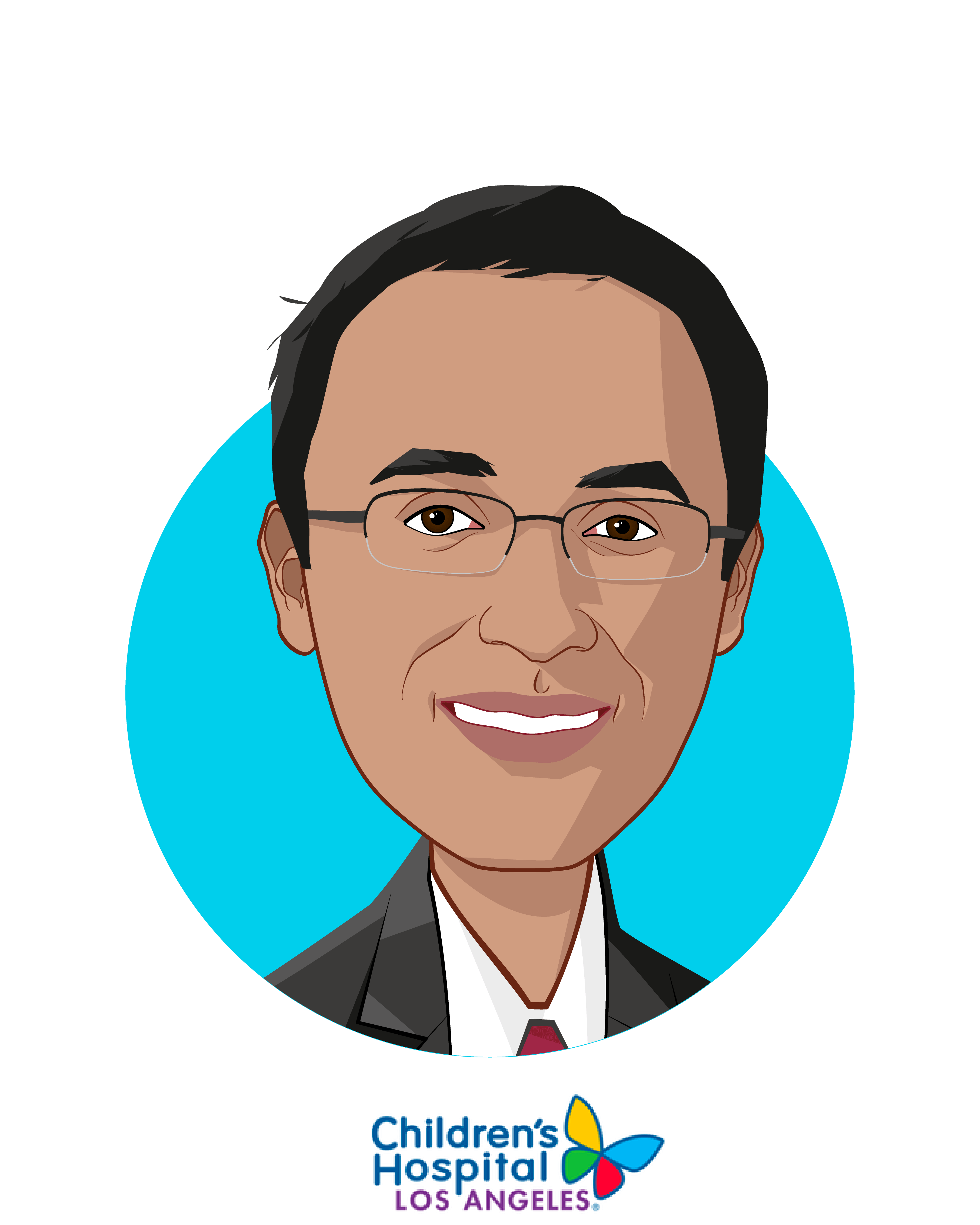 Main caricature of Omkar Kulkarni, who is speaking at HLTH and is Chief Innovation Officer at Children's Hospital Los Angeles