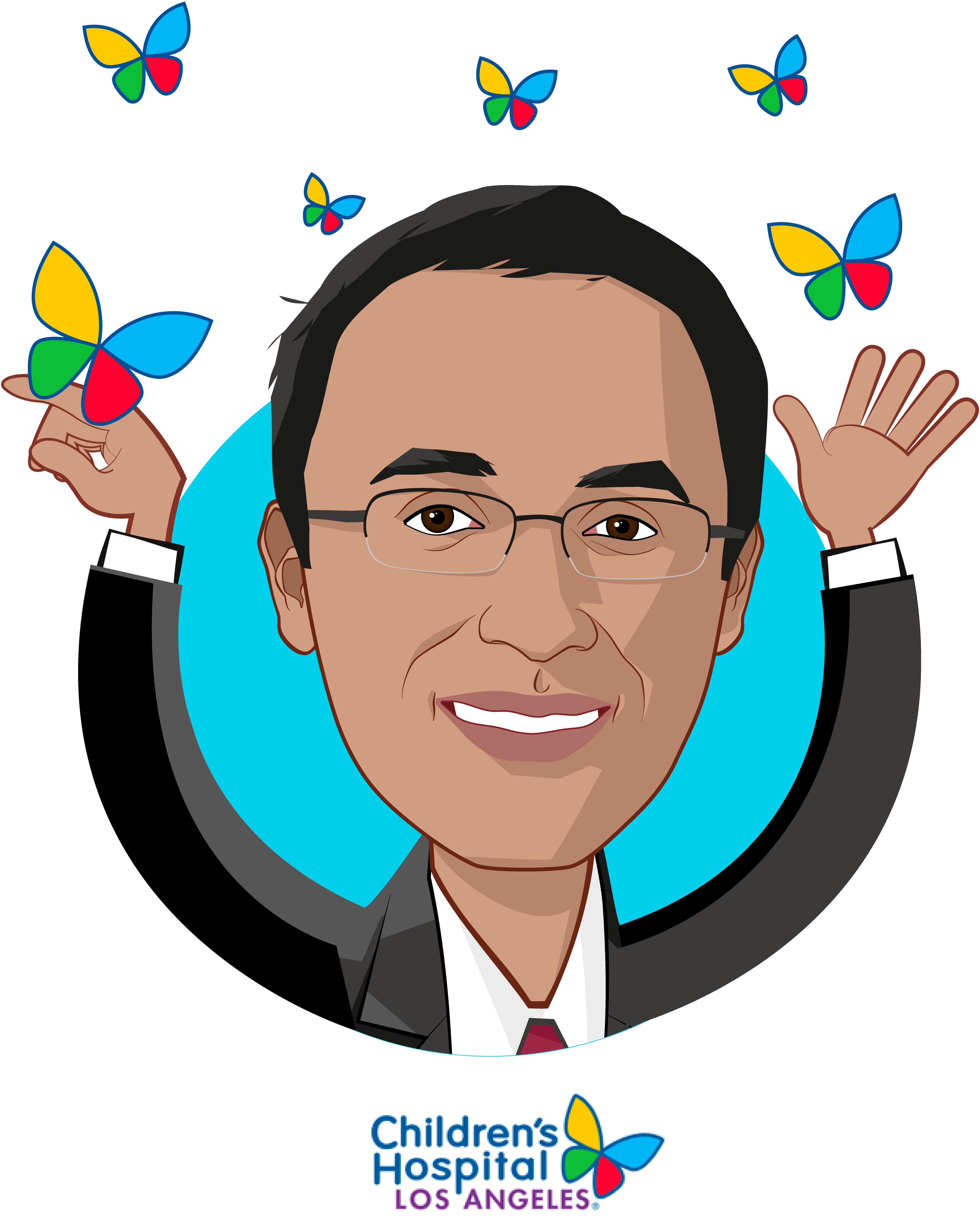 Overlay caricature of Omkar Kulkarni, who is speaking at HLTH and is Chief Innovation Officer at Children's Hospital Los Angeles