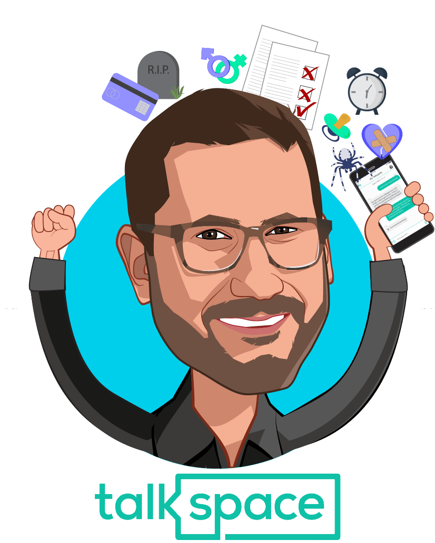 Overlay caricature of Oren Frank, who is speaking at HLTH and is Co-Founder and CEO at Talkspace
