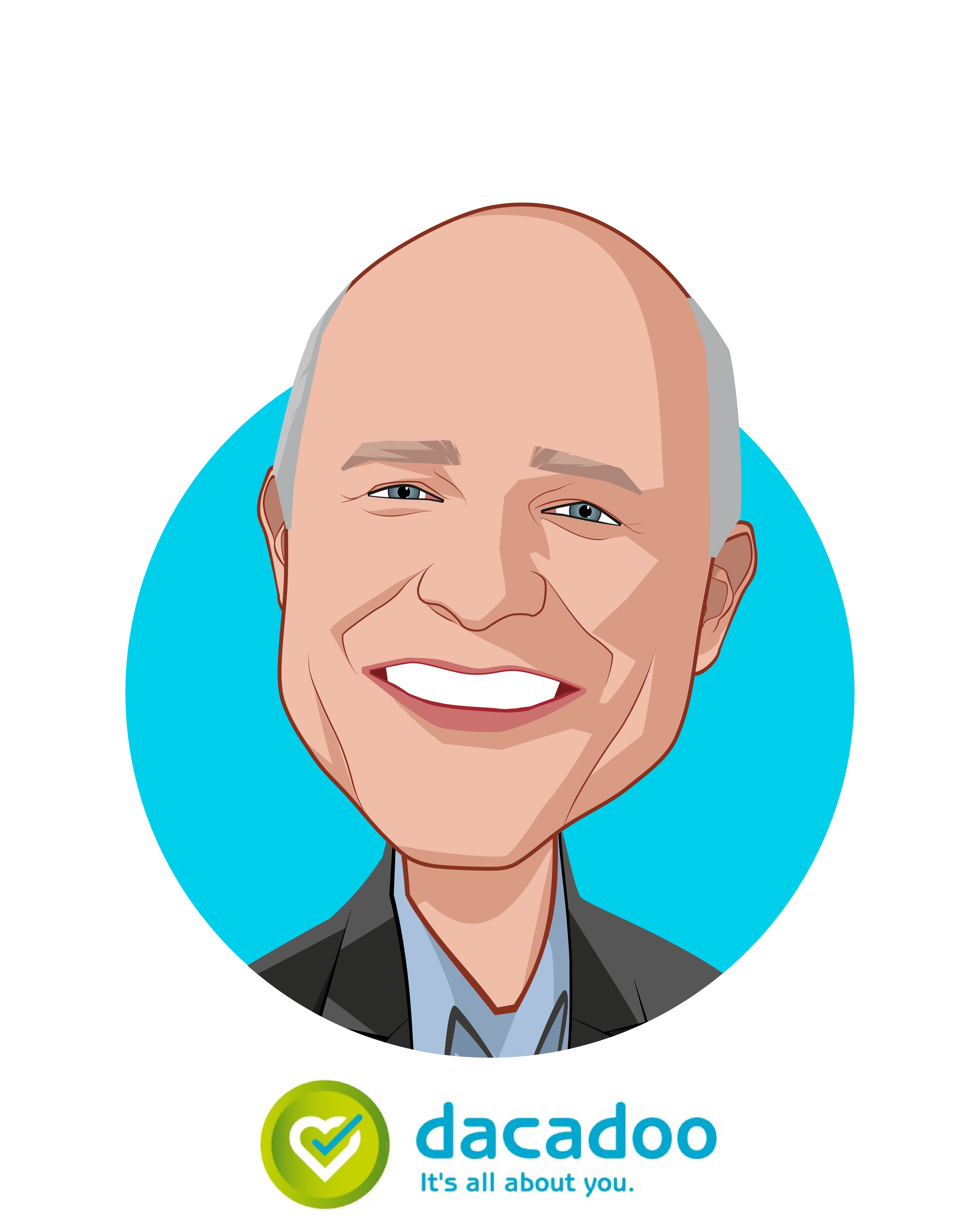Main caricature of Peter Ohnemus, who is speaking at HLTH and is President & CEO at dacadoo