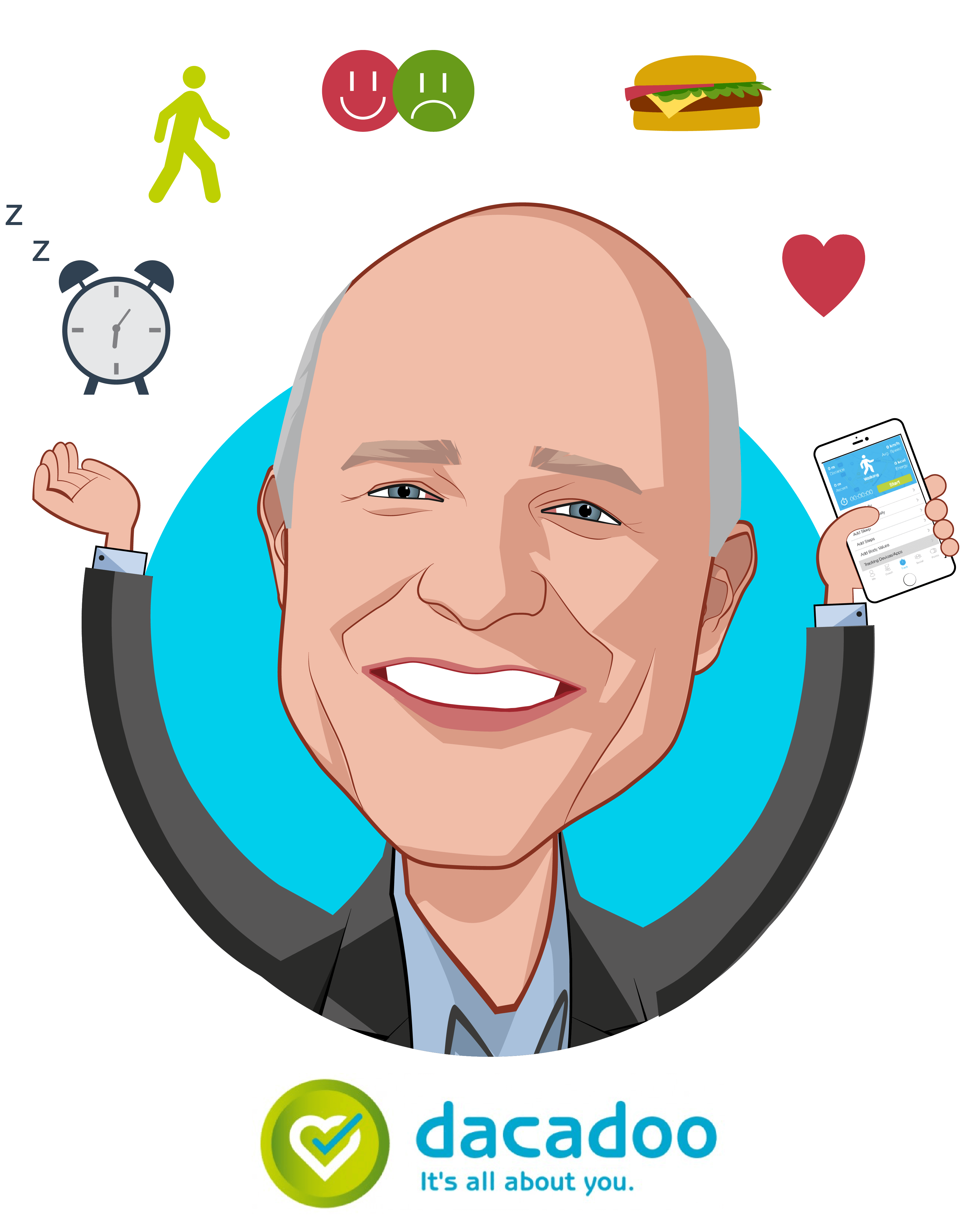 Overlay caricature of Peter Ohnemus, who is speaking at HLTH and is President & CEO at dacadoo