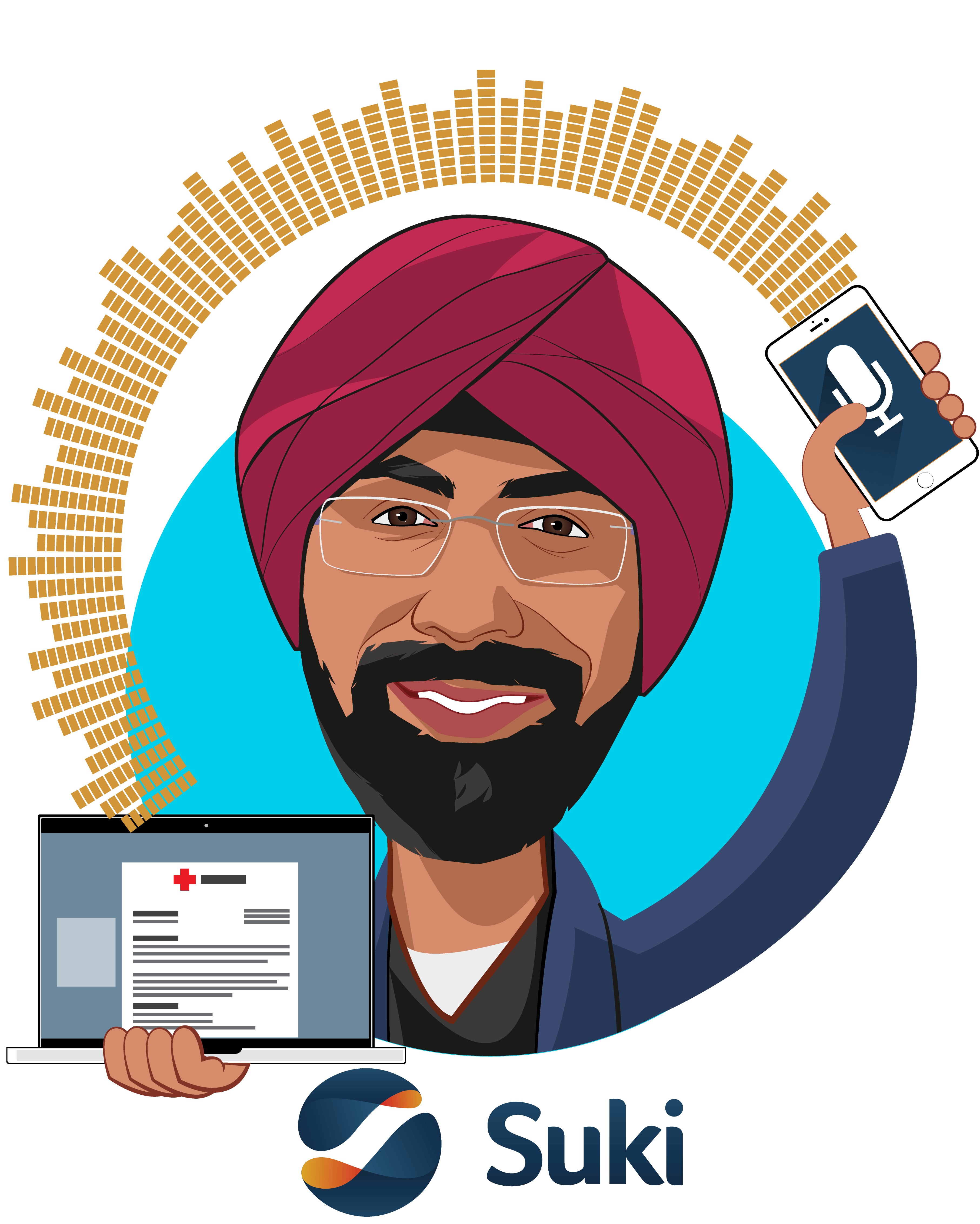 Overlay caricature of Punit Soni, who is speaking at HLTH and is Co-Founder & CEO at Suki