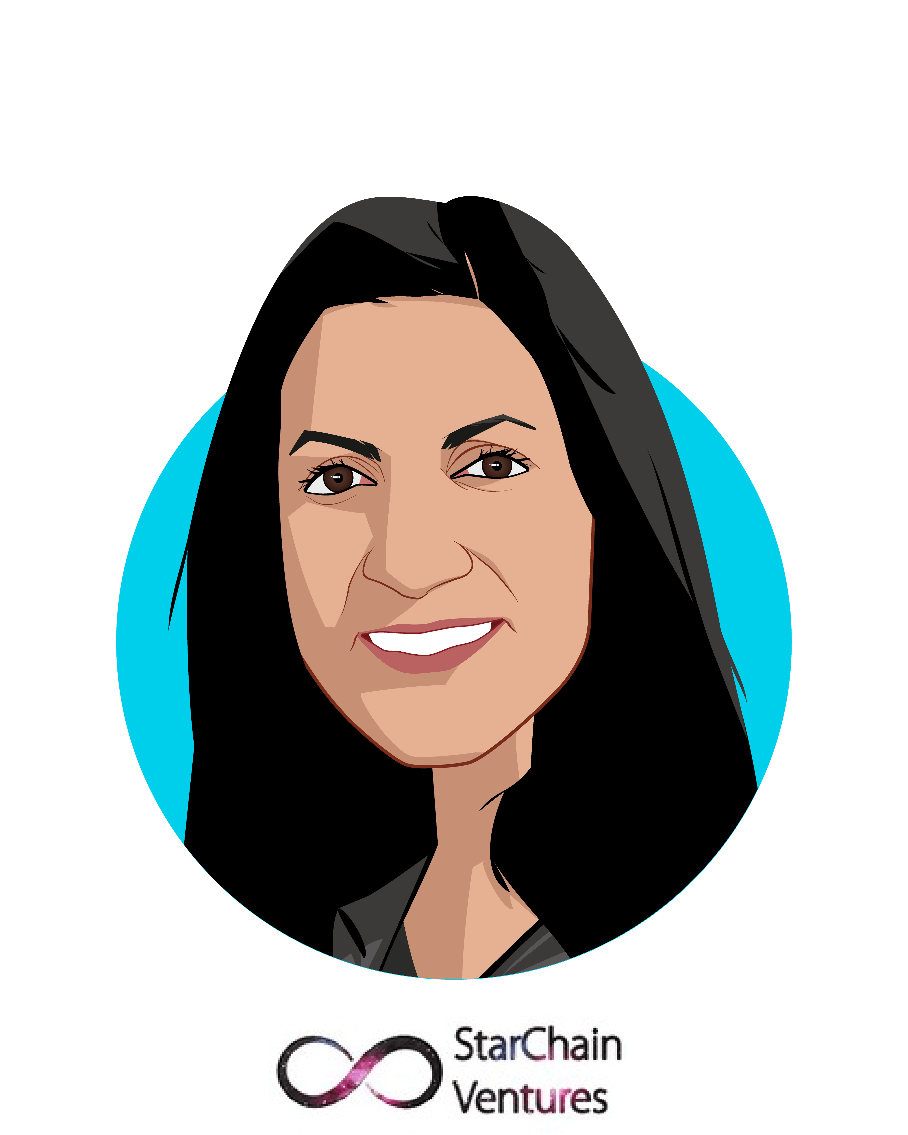 Main caricature of Radhika Iyengar-Emens, who is speaking at HLTH and is Founding Partner at StarChain Ventures