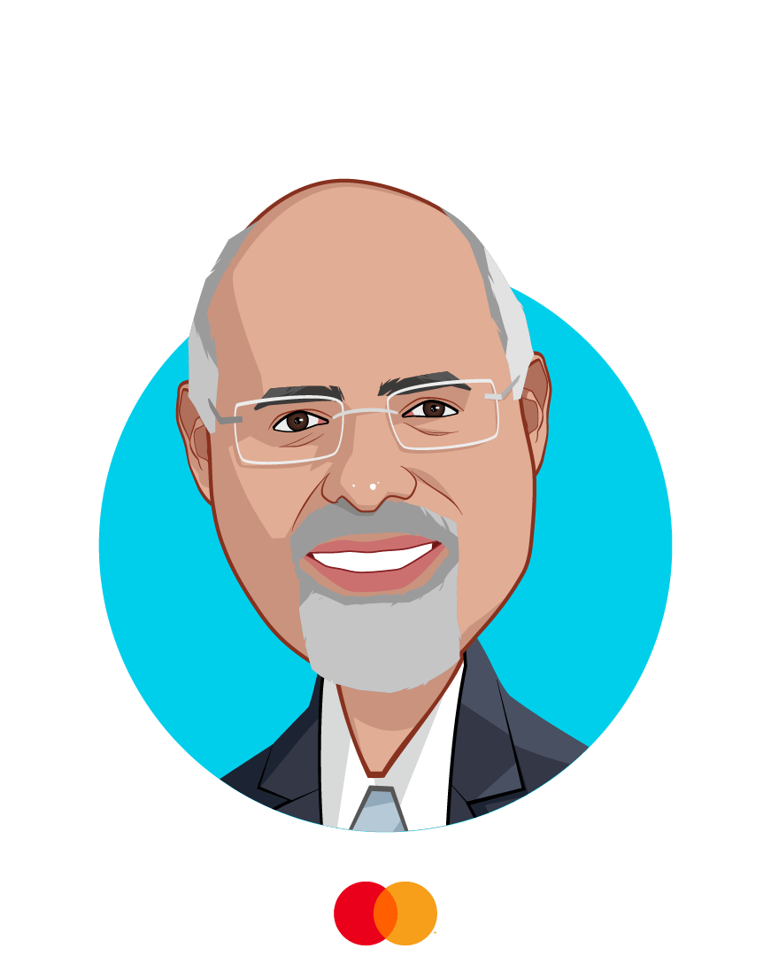 Main caricature of Raja Rajamannar, who is speaking at HLTH and is Chief Marketing & Communications Officer and President, Healthcare at Mastercard
