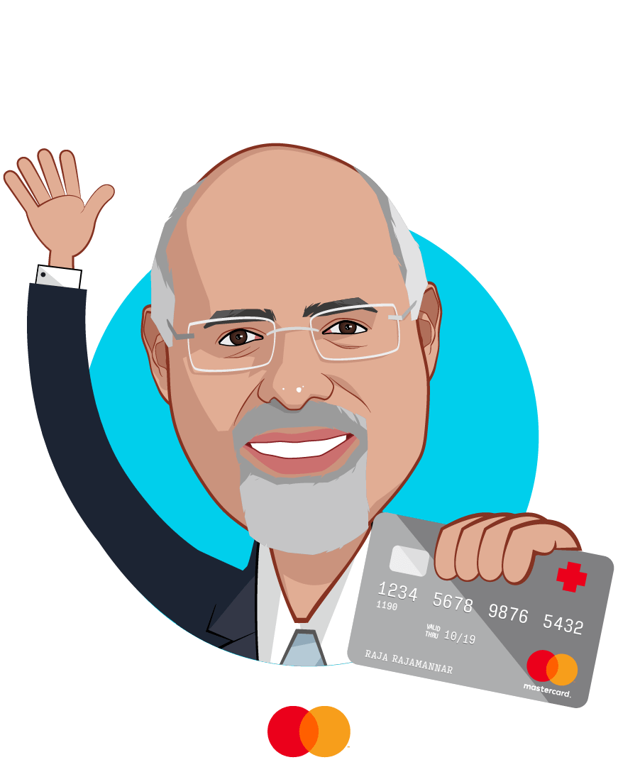 Overlay caricature of Raja Rajamannar, who is speaking at HLTH and is Chief Marketing & Communications Officer and President, Healthcare at Mastercard