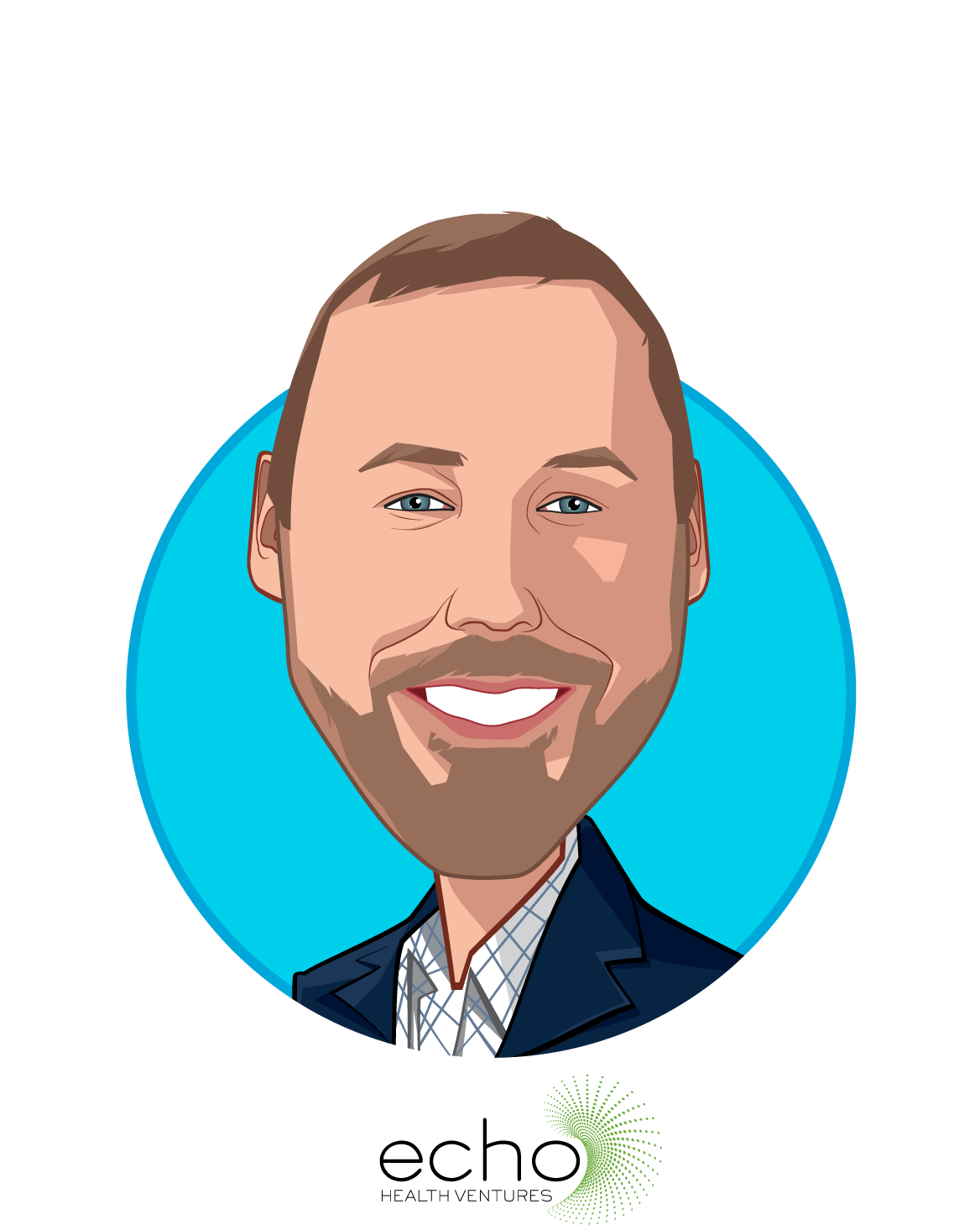 Main caricature of Rob Coppedge, who is speaking at HLTH and is Chief Executive Officer at Echo Health Ventures