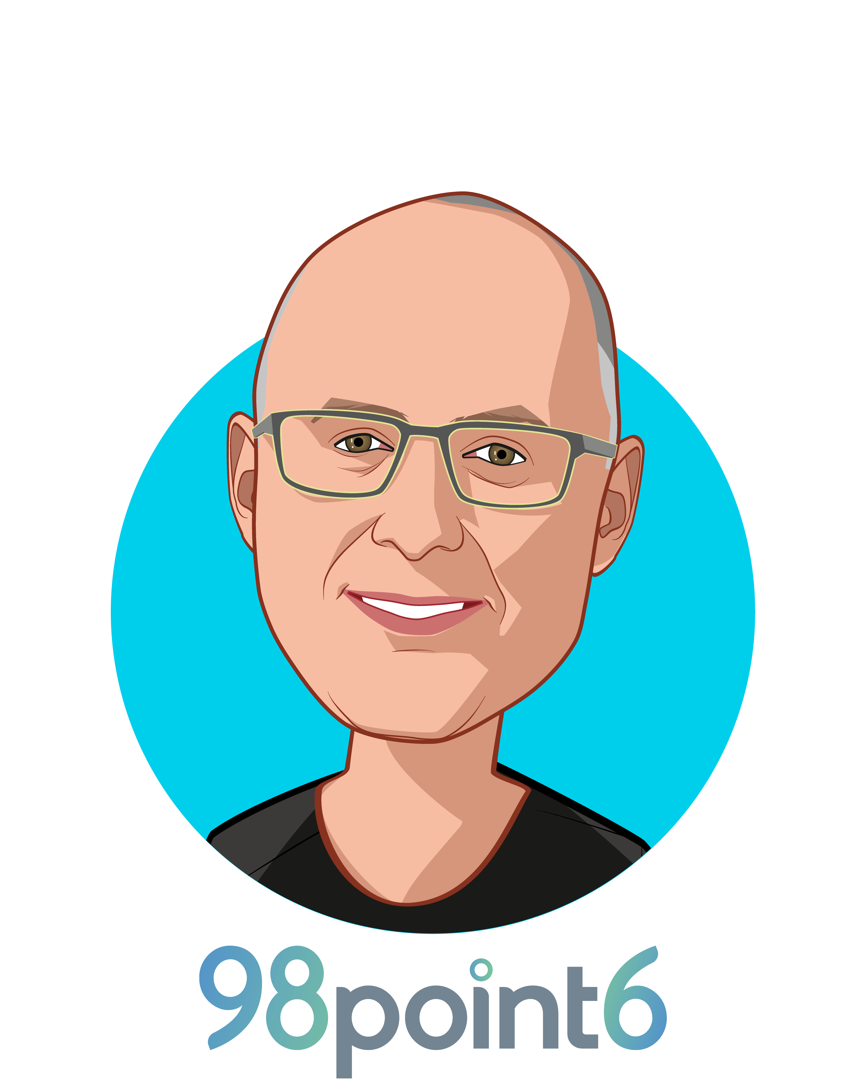 Main caricature of Robbie Cape, who is speaking at HLTH and is CEO and Co-founder at 98point6