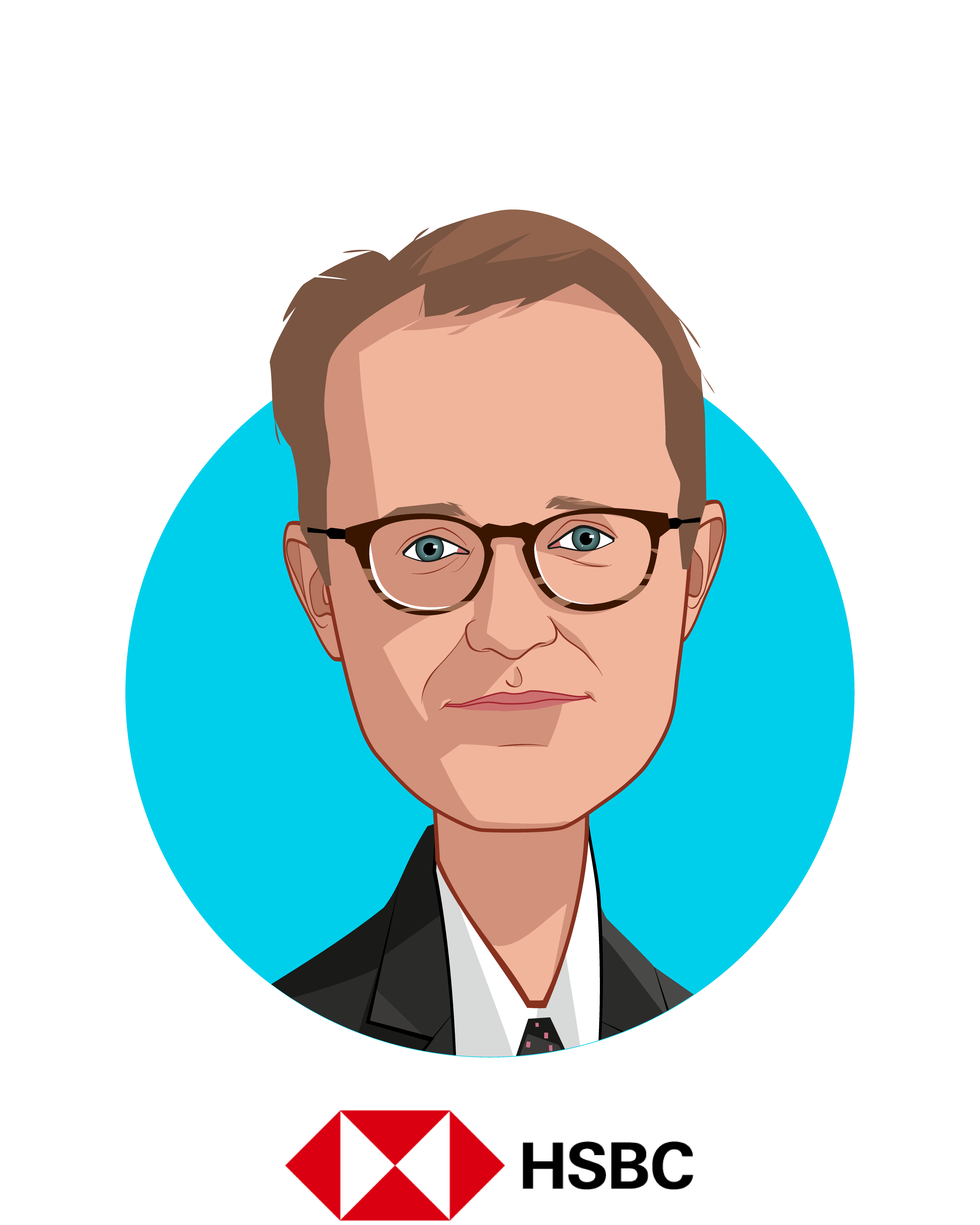 Main caricature of Thad Davis, who is speaking at HLTH and is Head of U.S. Healthcare Investment Banking at HSBC
