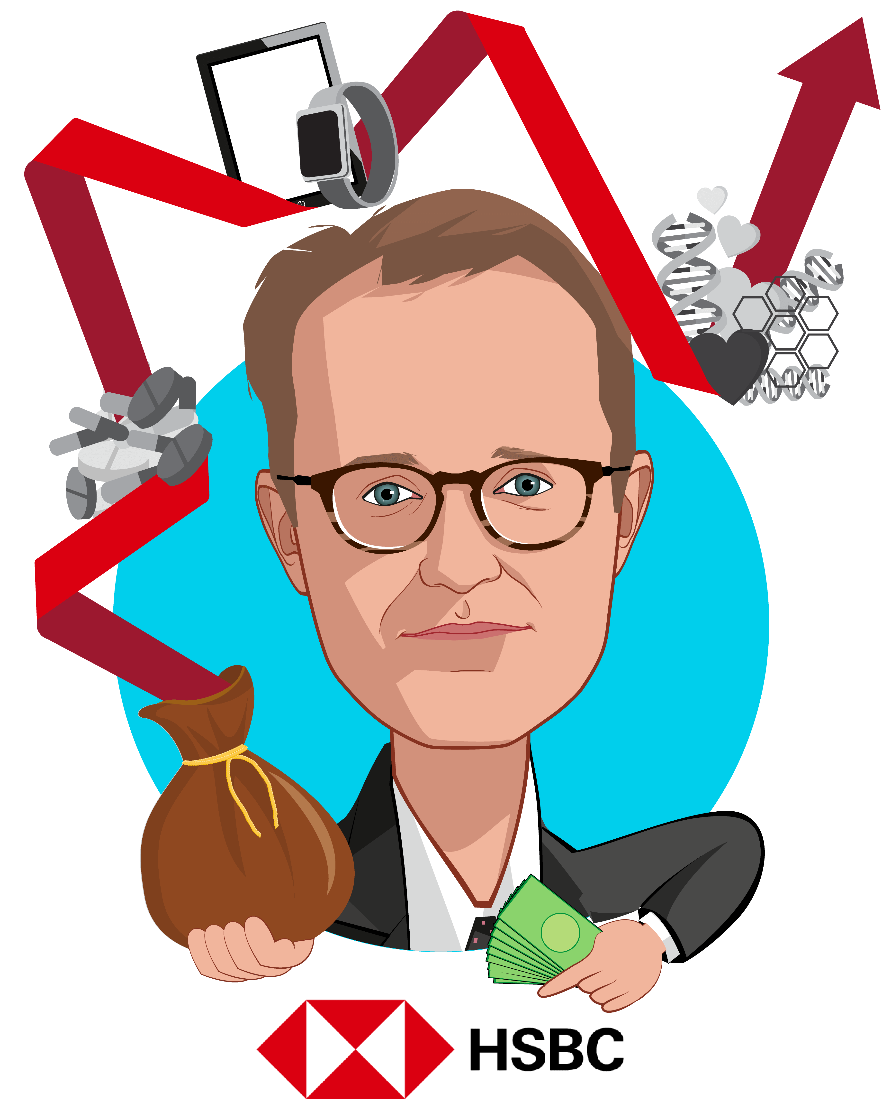 Overlay caricature of Thad Davis, who is speaking at HLTH and is Head of U.S. Healthcare Investment Banking at HSBC
