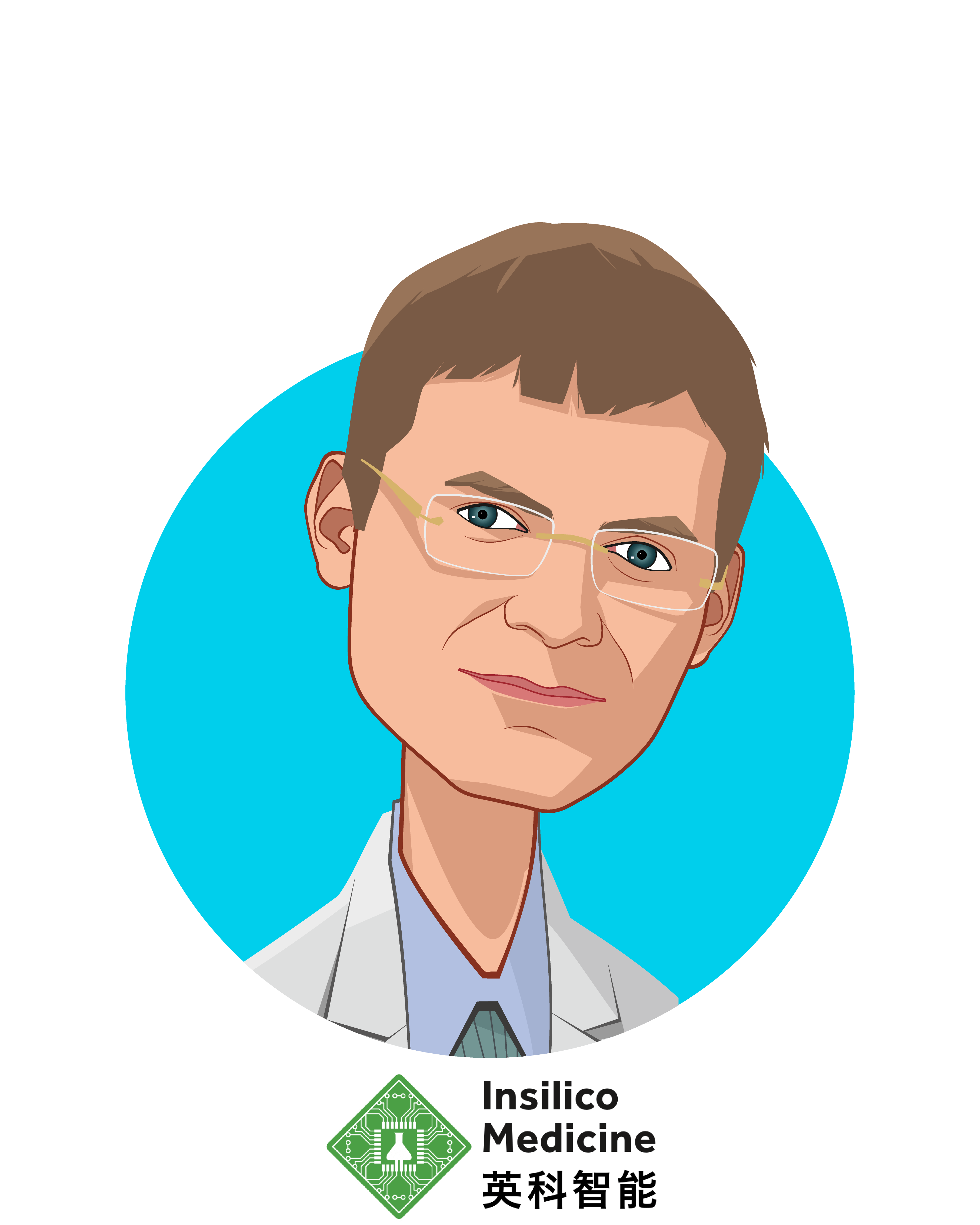 Main caricature of Alex Zhavoronkov, who is speaking at HLTH and is Founder and CEO at Insilico Medicine, Inc