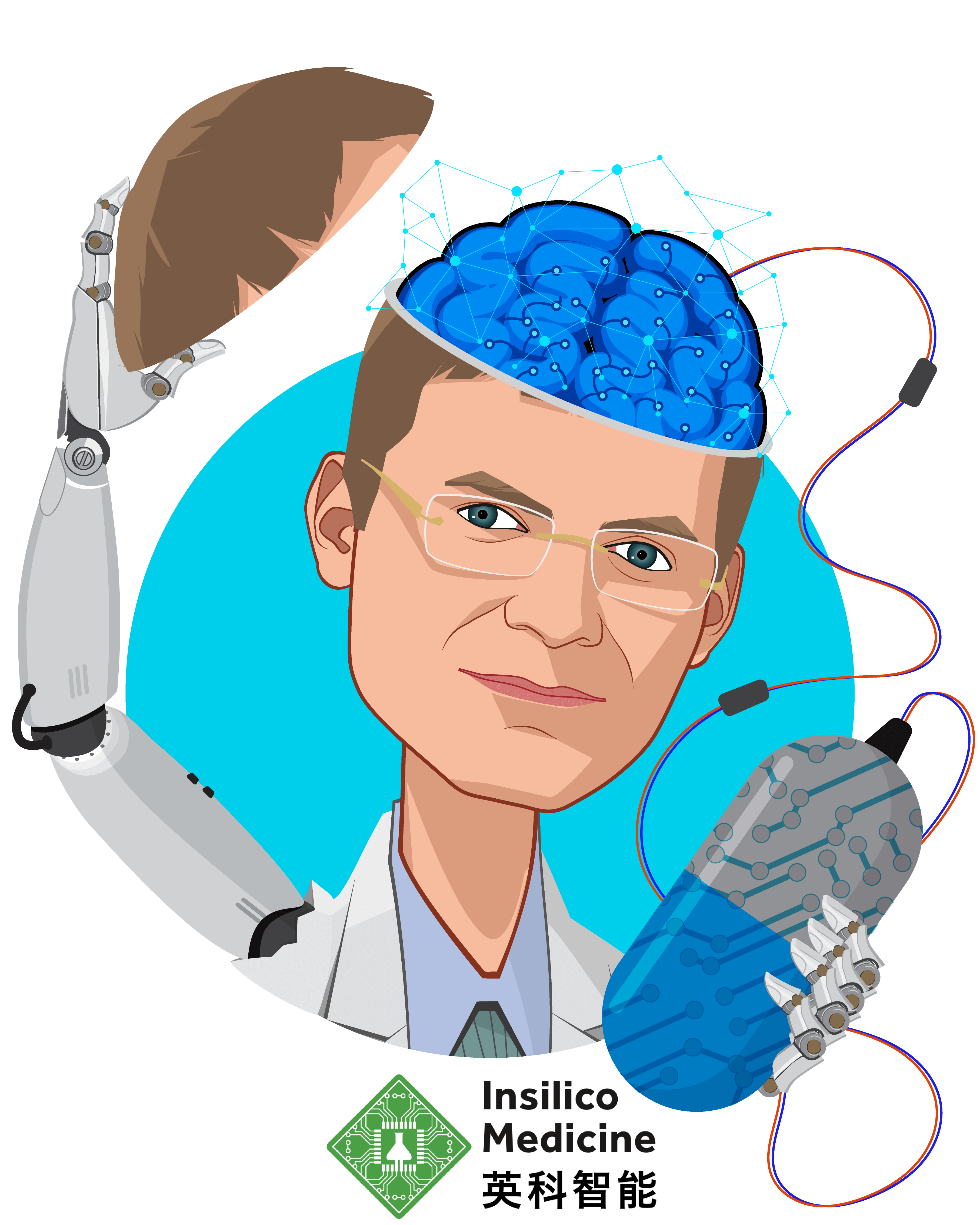 Overlay caricature of Alex Zhavoronkov, who is speaking at HLTH and is Founder and CEO at Insilico Medicine, Inc