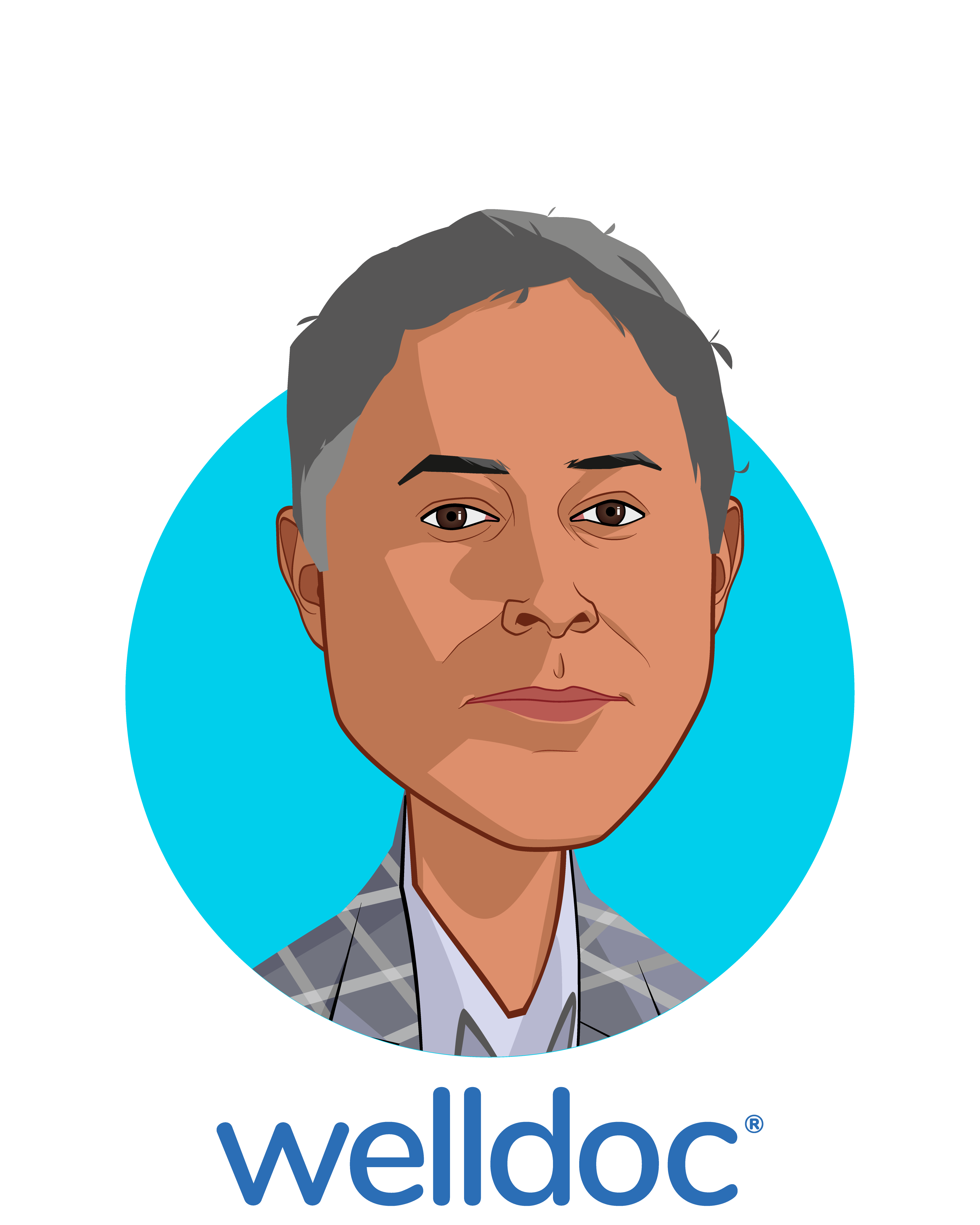 Main caricature of Anand K. Iyer, PhD MBA, who is speaking at HLTH and is Chief Strategy Officer at Welldoc