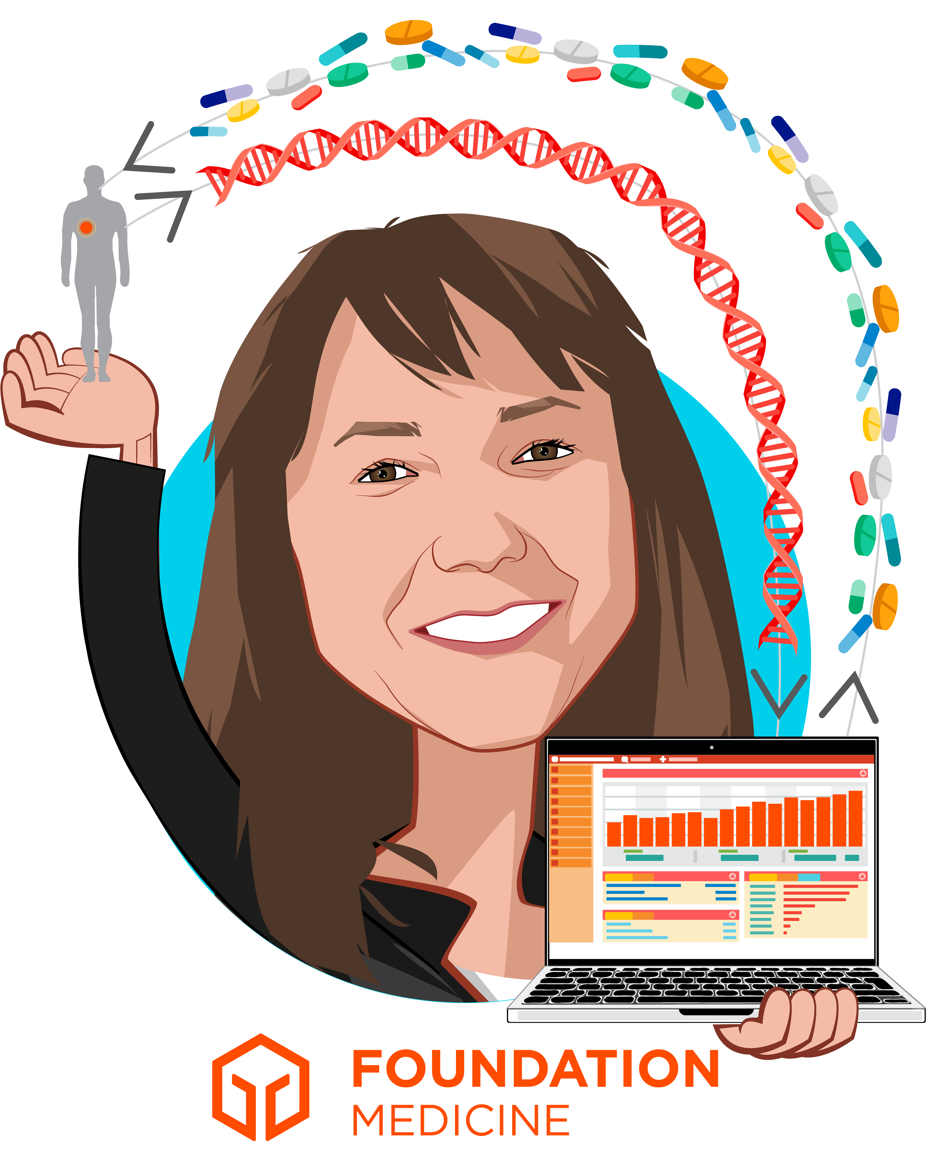 Overlay caricature of Cindy Perettie, who is speaking at HLTH and is CEO at Foundation Medicine