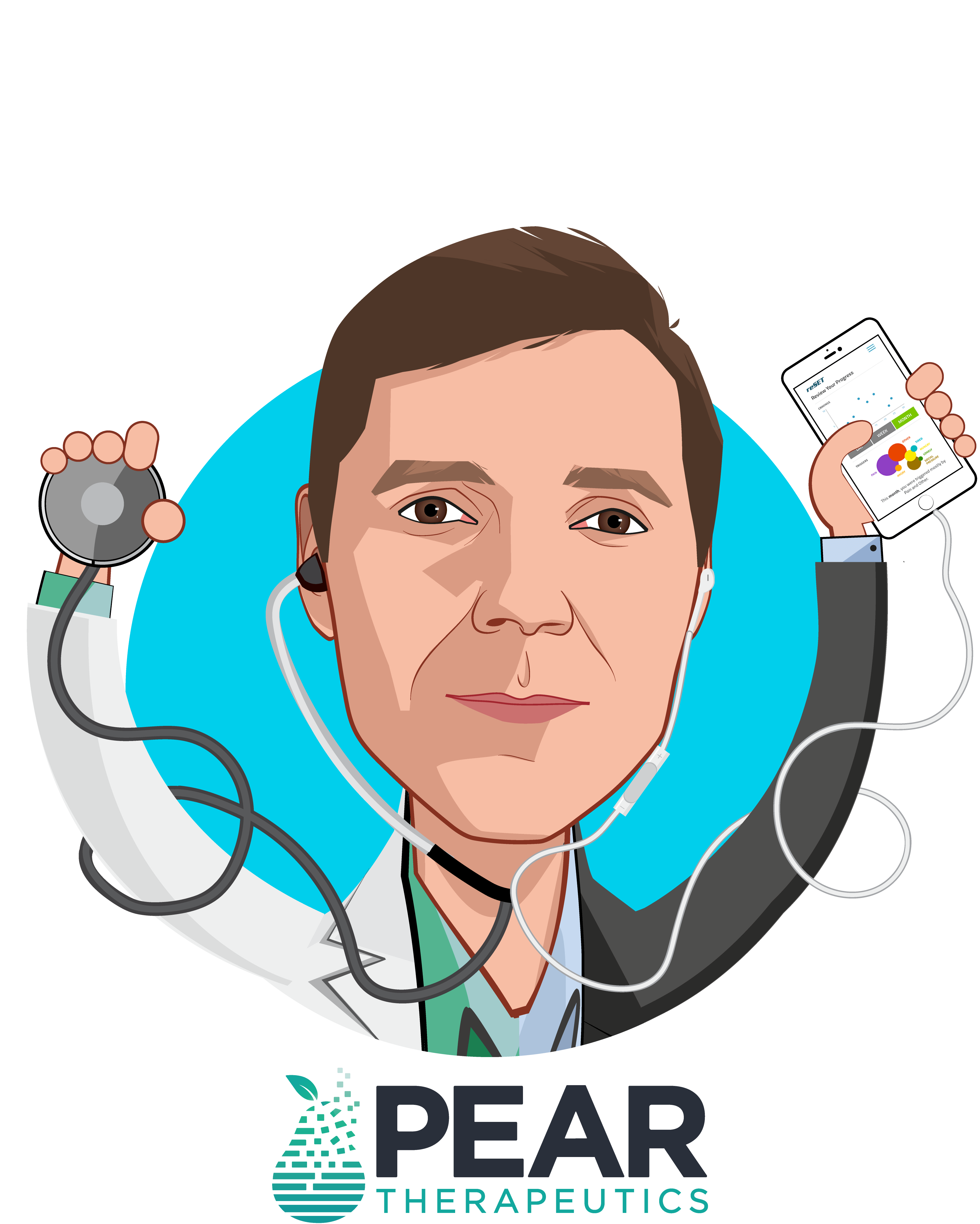 Overlay caricature of Corey M. McCann, M.D., Ph.D., who is speaking at HLTH and is President & CEO at Pear Therapeutics