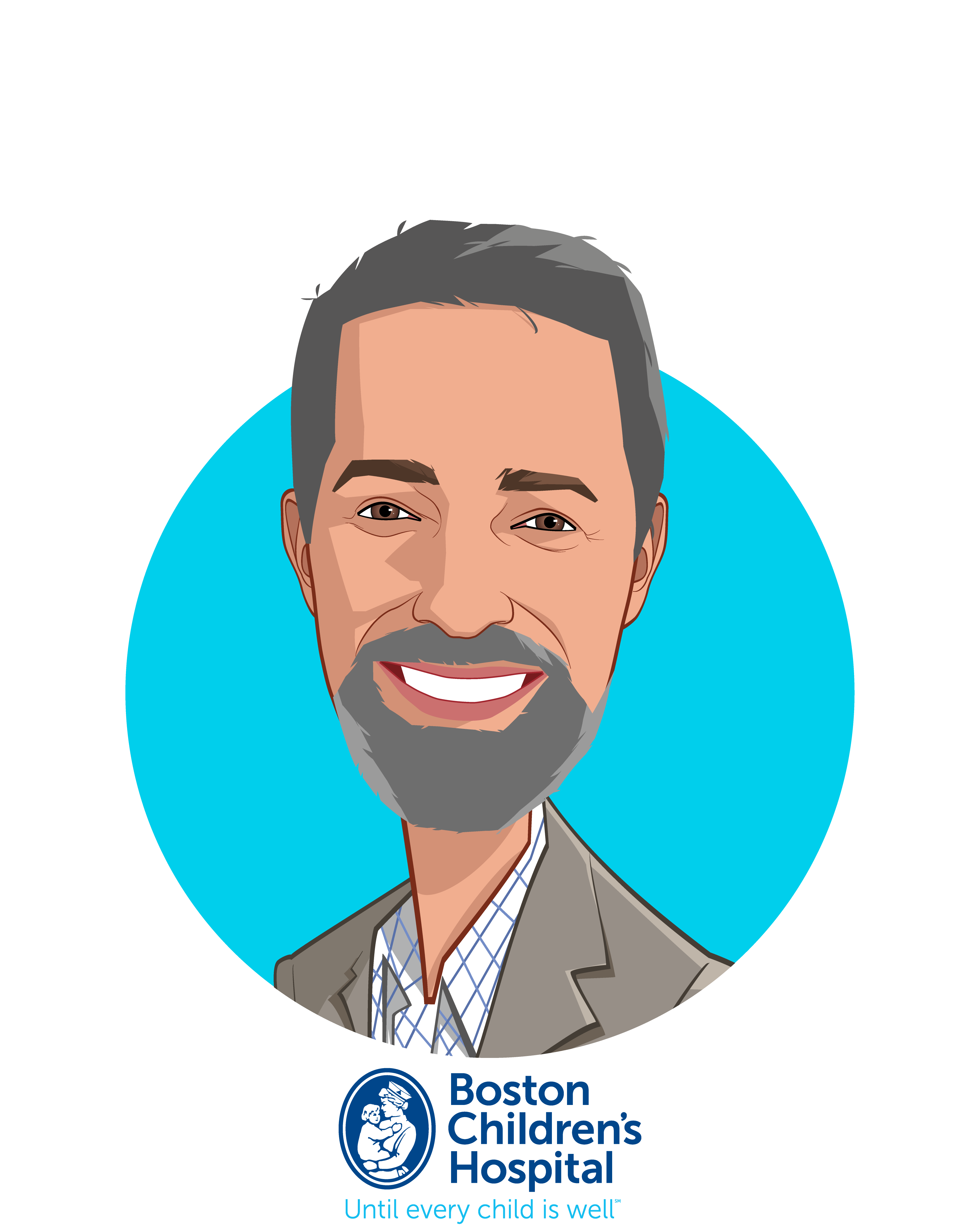 Main caricature of Dan Nigrin, who is speaking at HLTH and is Senior VP & Chief Information Officer at Boston Children's Hospital