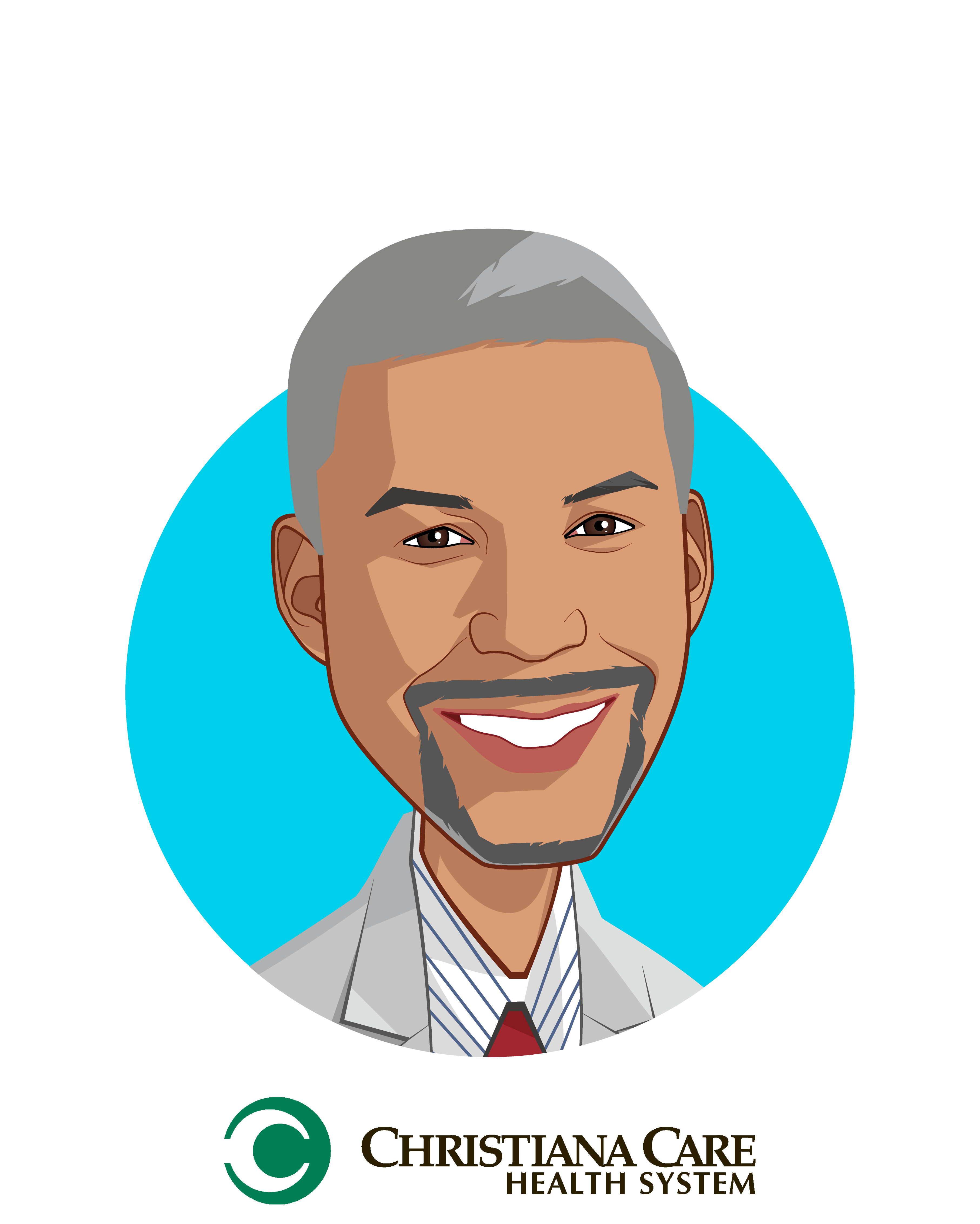 Main caricature of Edmondo J. Robinson, M.D., MBA, FACP, who is speaking at HLTH and is Chief Transformation Officer, Senior Vice President, Consumerism                                              at Christiana Care Health System