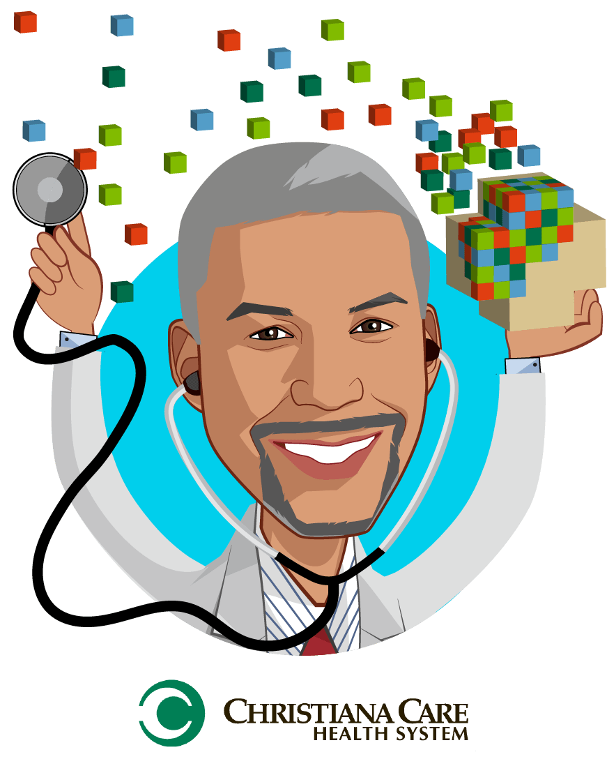 Overlay caricature of Edmondo J. Robinson, M.D., MBA, FACP, who is speaking at HLTH and is Chief Transformation Officer, Senior Vice President, Consumerism                                              at Christiana Care Health System