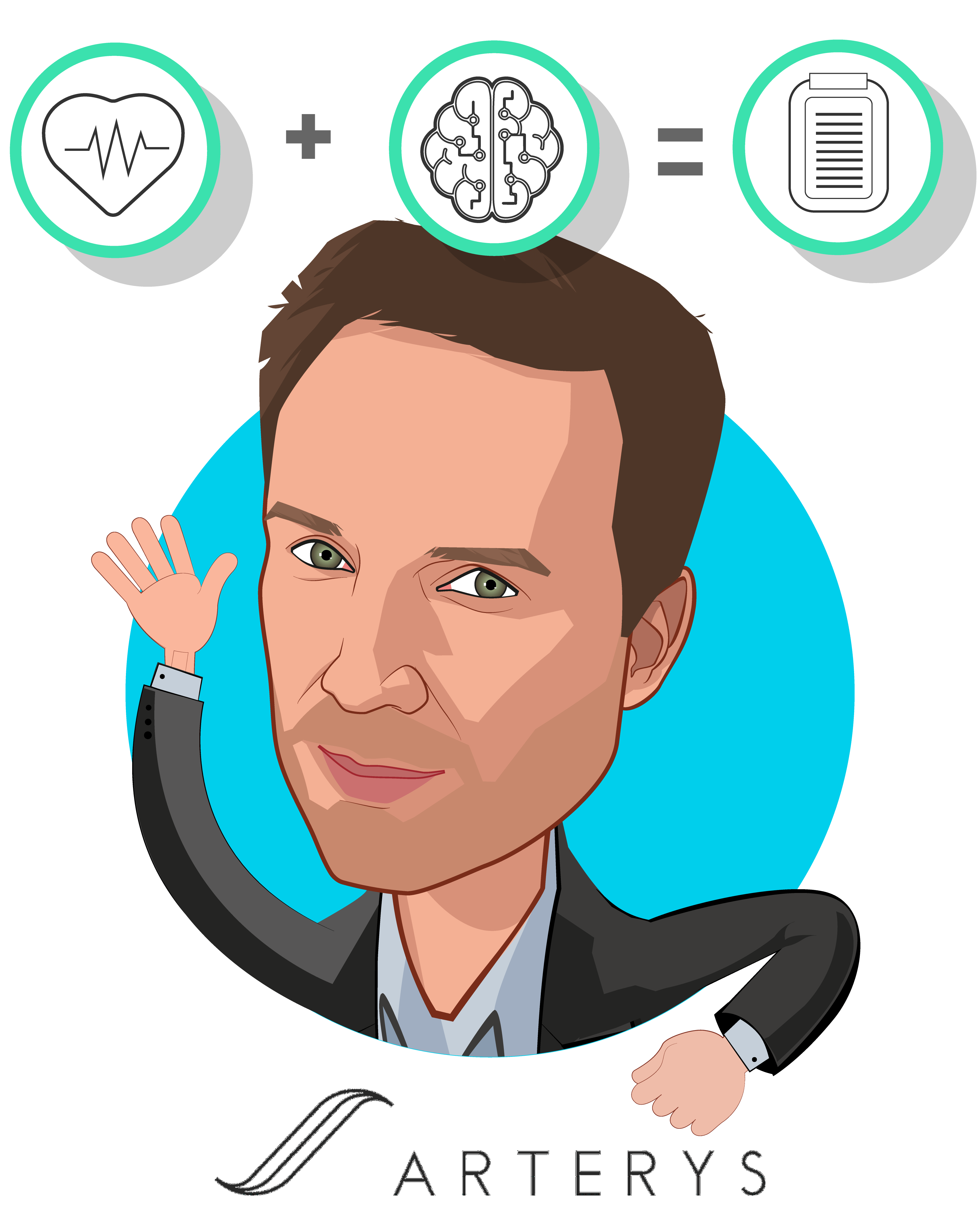 Overlay caricature of Fabien Beckers, who is speaking at HLTH and is CEO & Co-Founder at Arterys