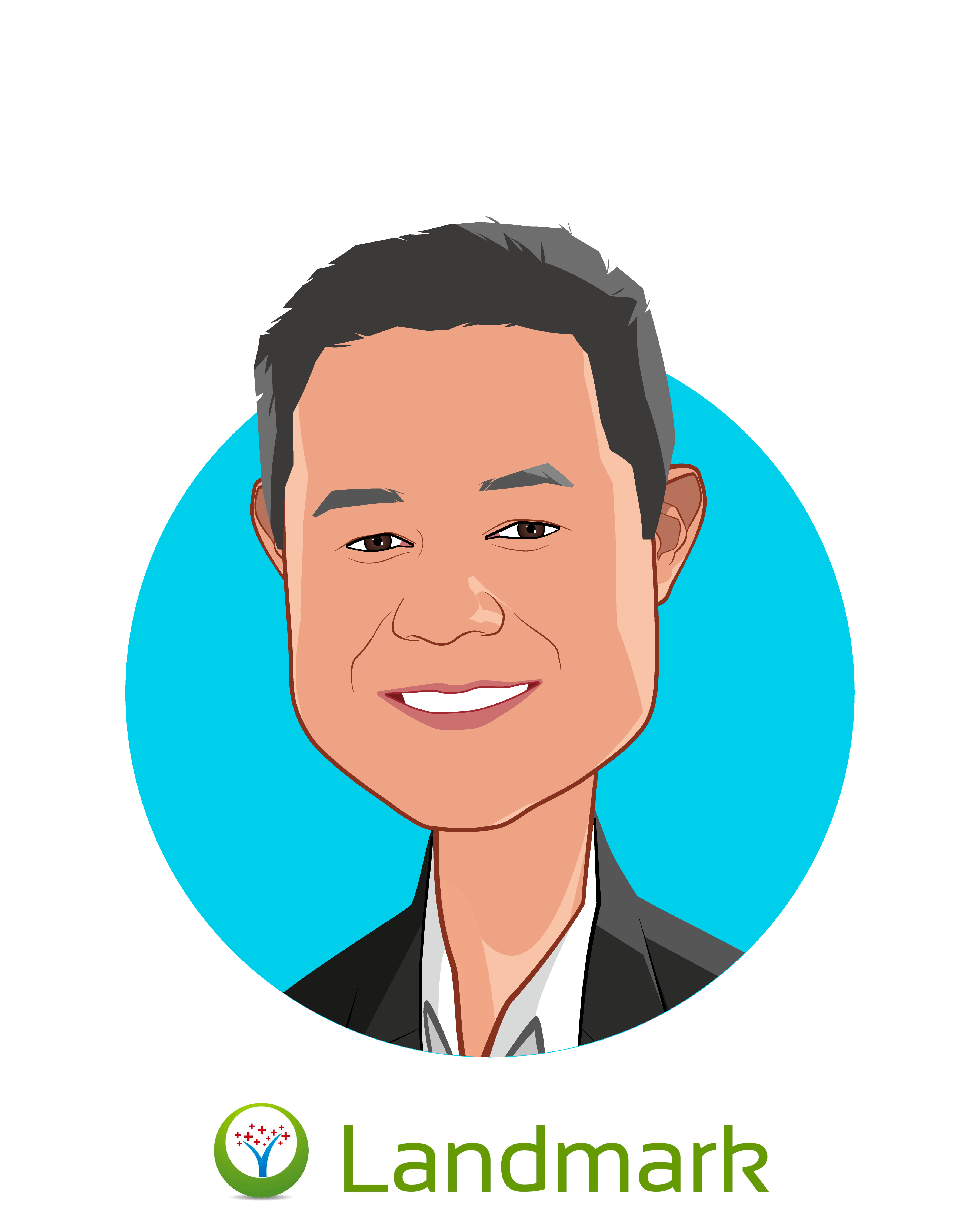 Main caricature of Michael Le, MD, who is speaking at HLTH and is Co-Founder & Chief Medical Officer at Landmark Health