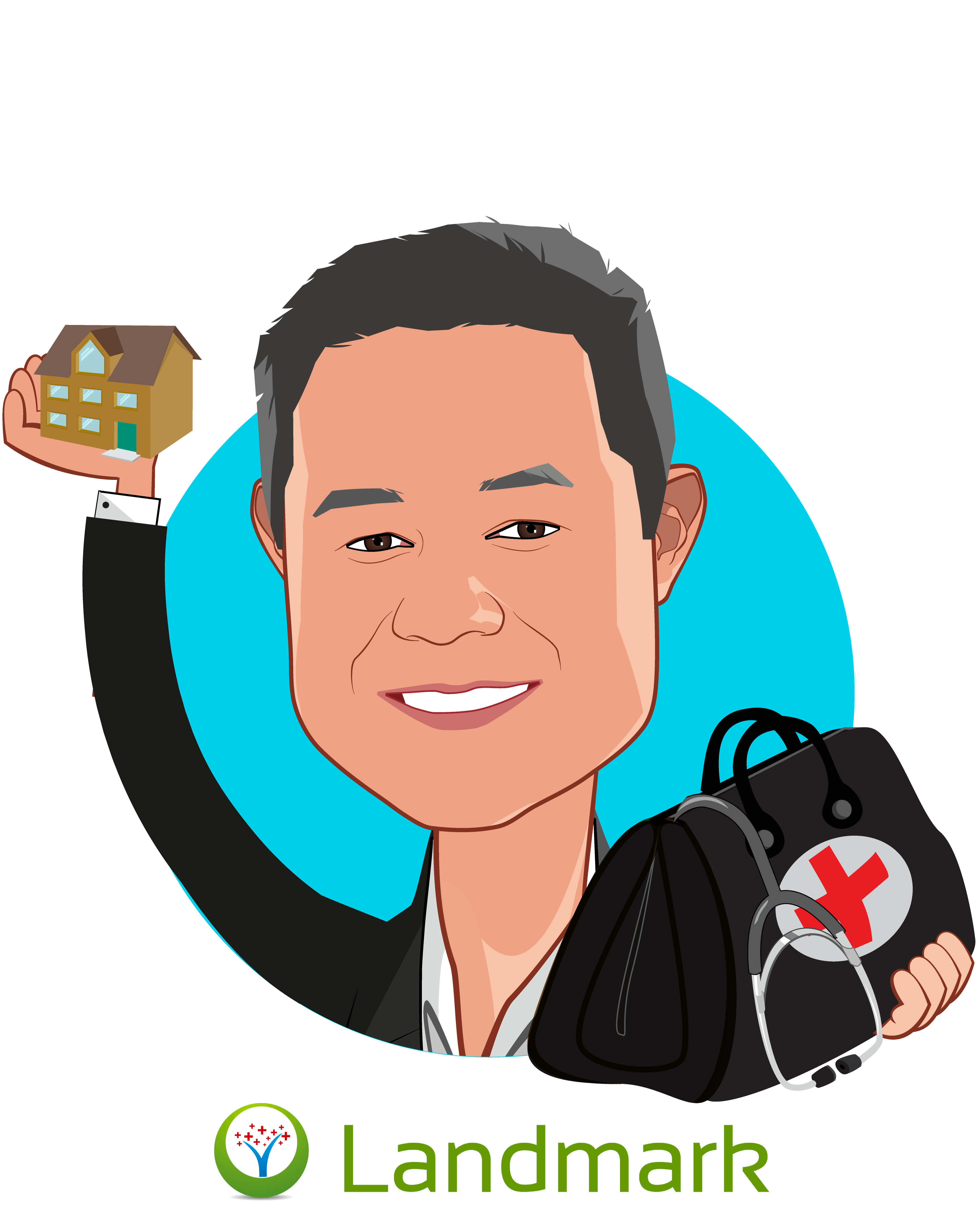 Overlay caricature of Michael Le, MD, who is speaking at HLTH and is Co-Founder & Chief Medical Officer at Landmark Health