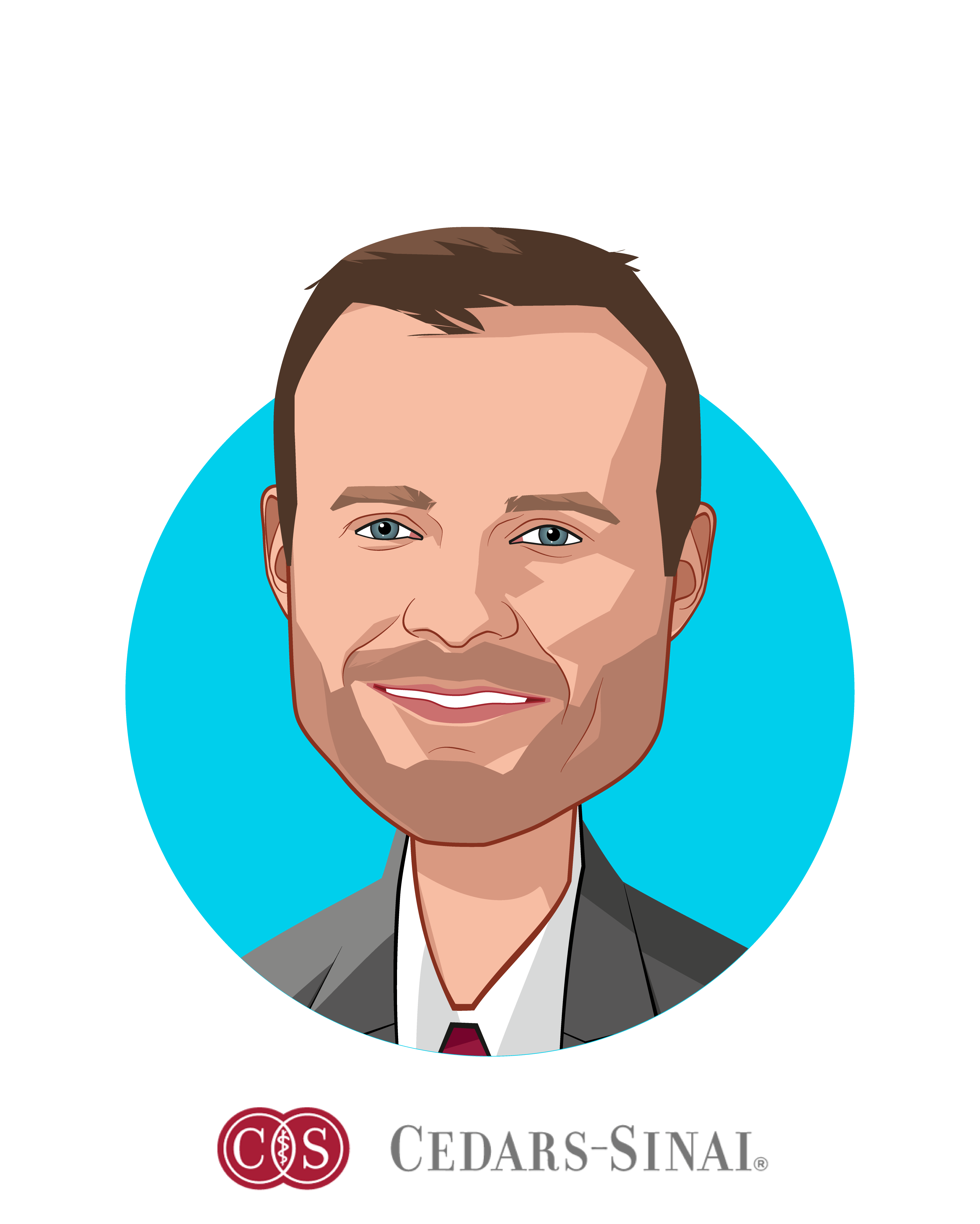 Main caricature of Alan Dubovsky, who is speaking at HLTH and is Chief Patient Experience Officer at Cedars-Sinai