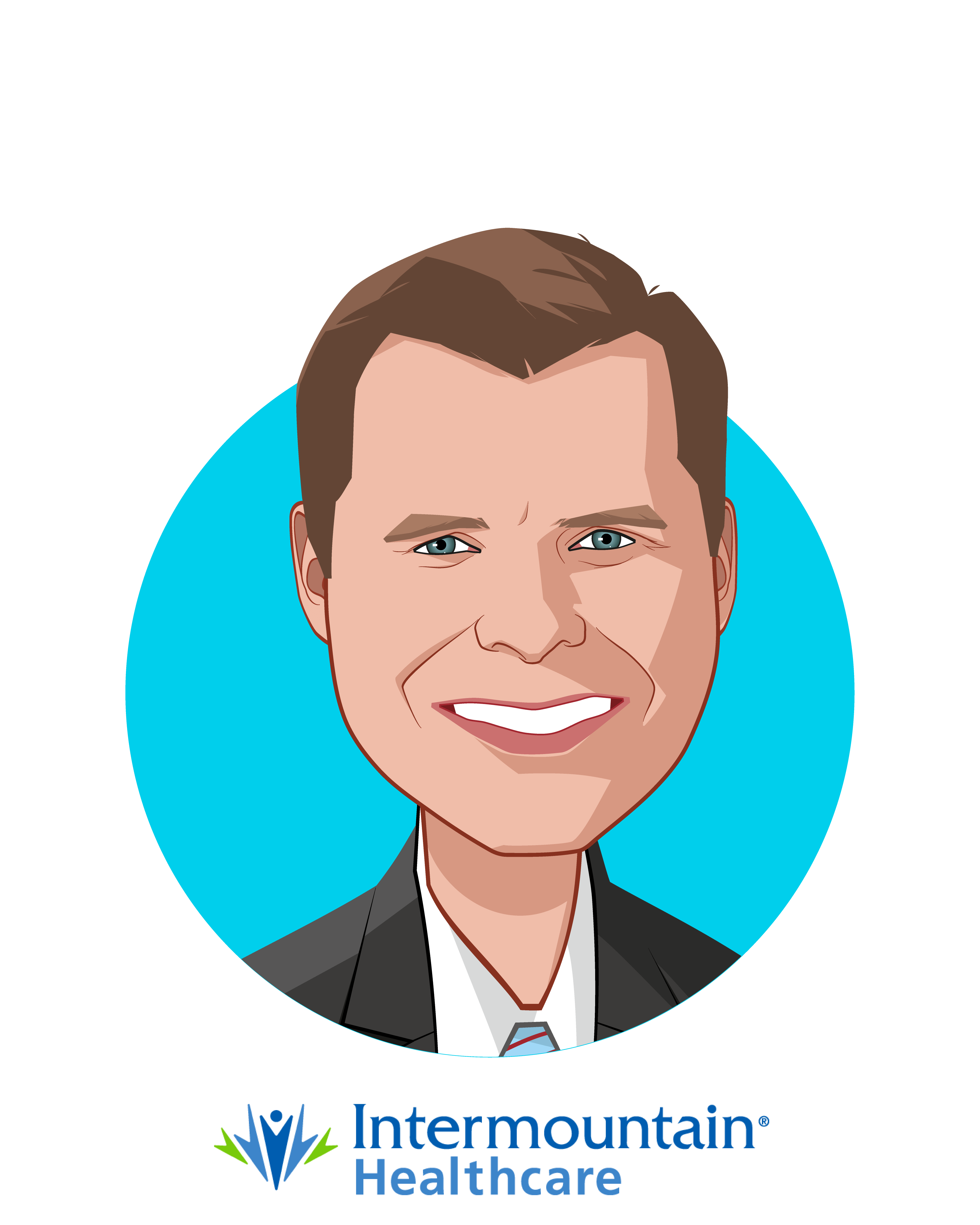 Main caricature of Dan Liljenquist, who is speaking at HLTH and is Senior Vice President & Chief Strategy Officer at Intermountain Healthcare