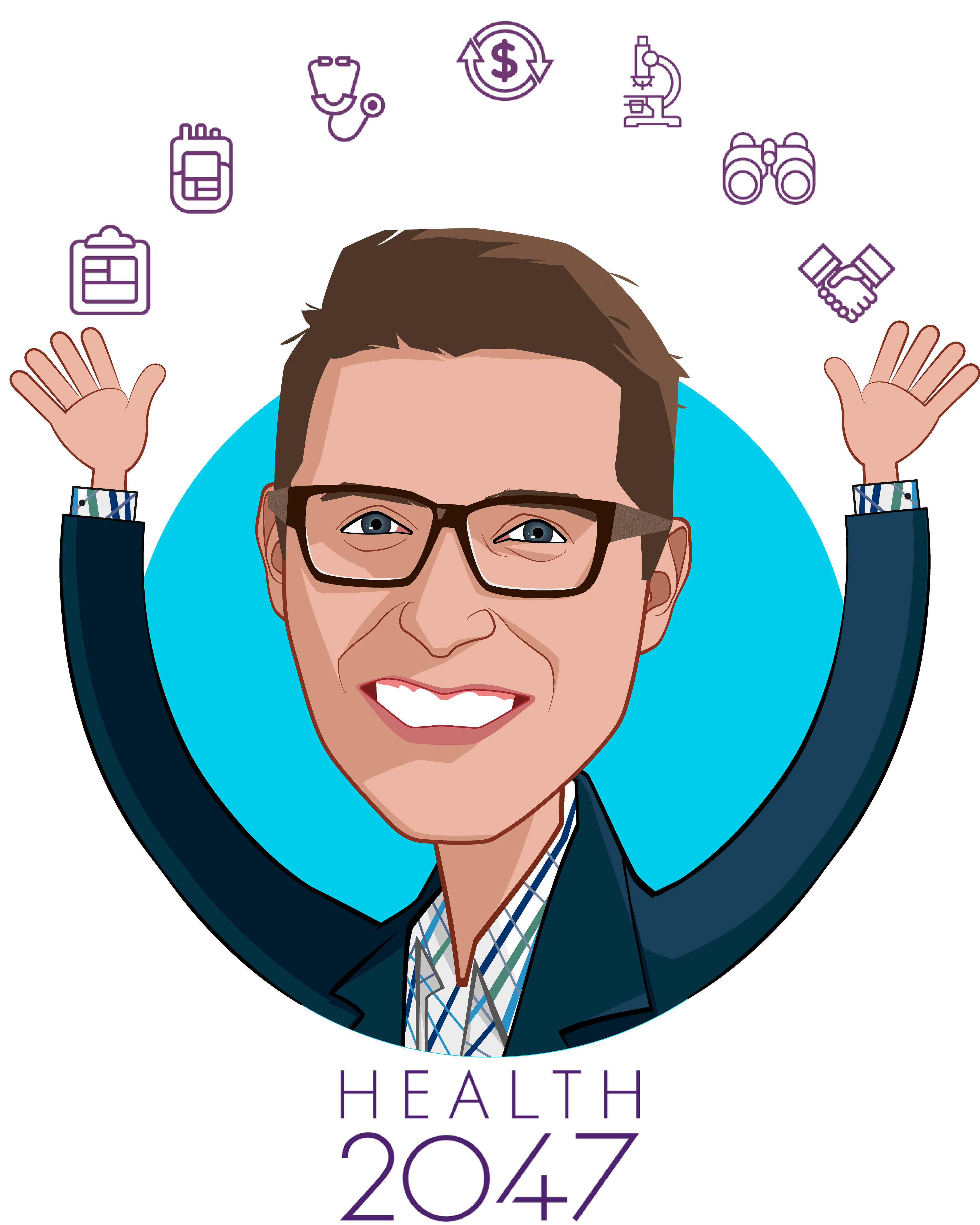 Overlay caricature of Jack Stockert, who is speaking at HLTH and is Managing Director at Health2047 Inc.
