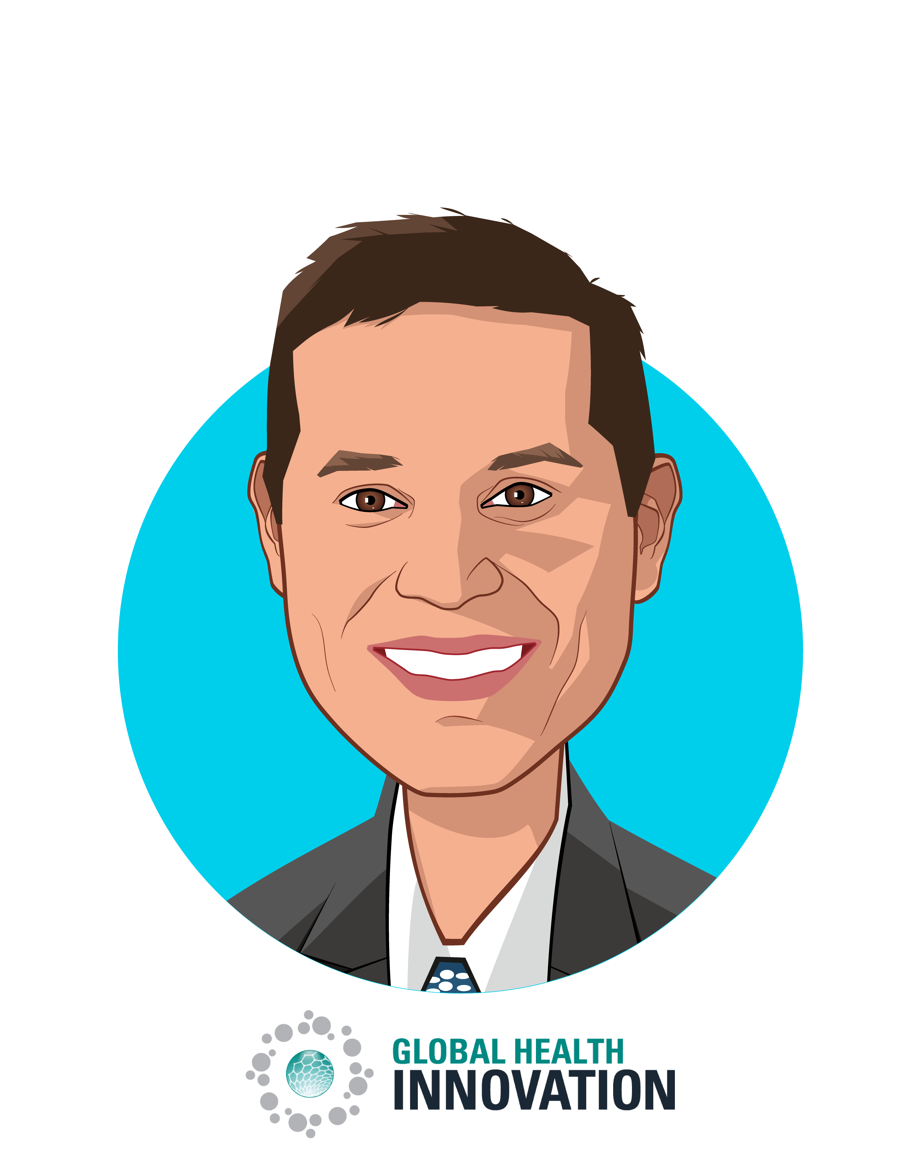 Main caricature of Joel Krikston, who is speaking at HLTH and is Managing Director at Merck Global Health Innovation Fund