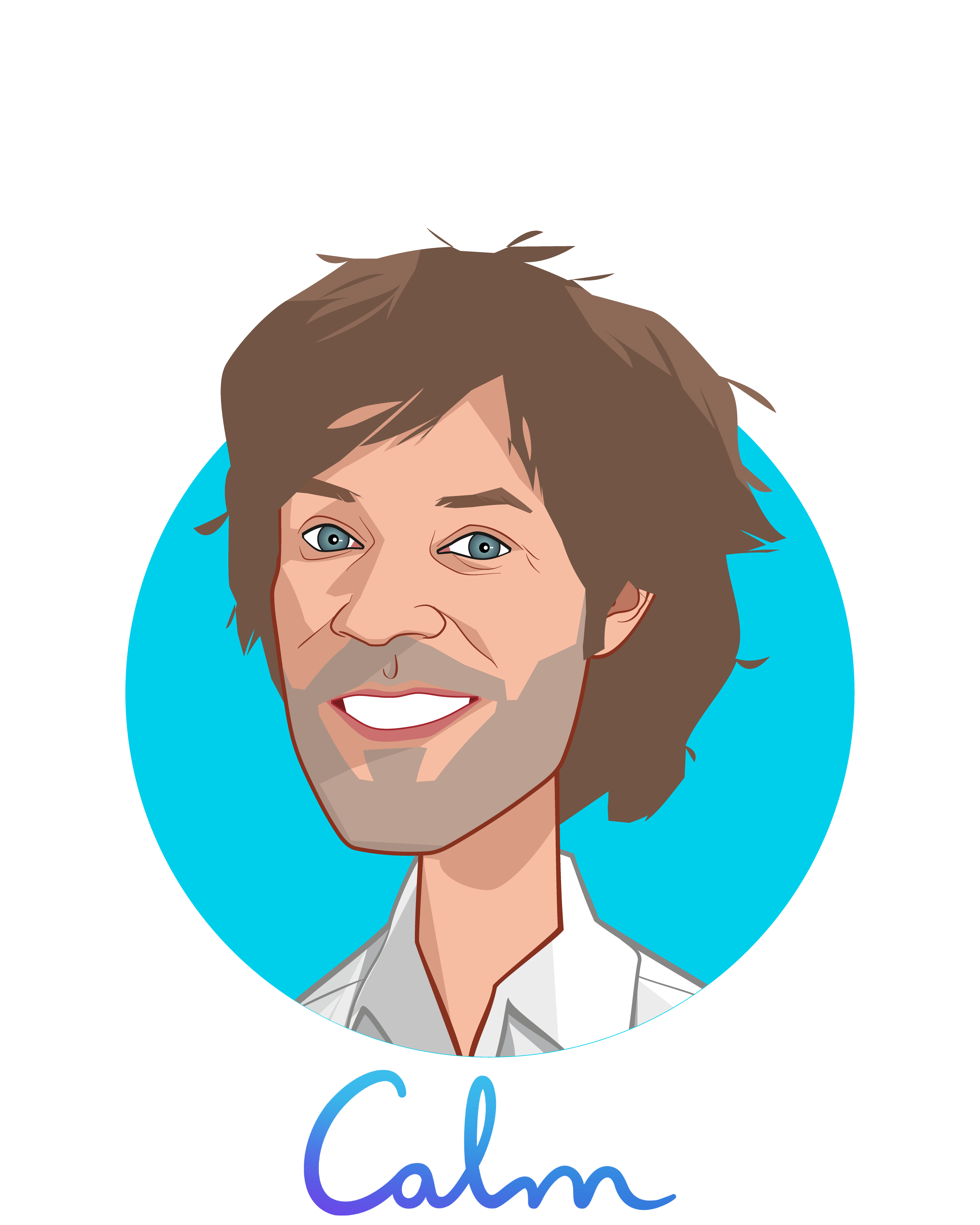 Main caricature of Michael Acton Smith, who is speaking at HLTH and is Co-Founder + Co-CEO at Calm