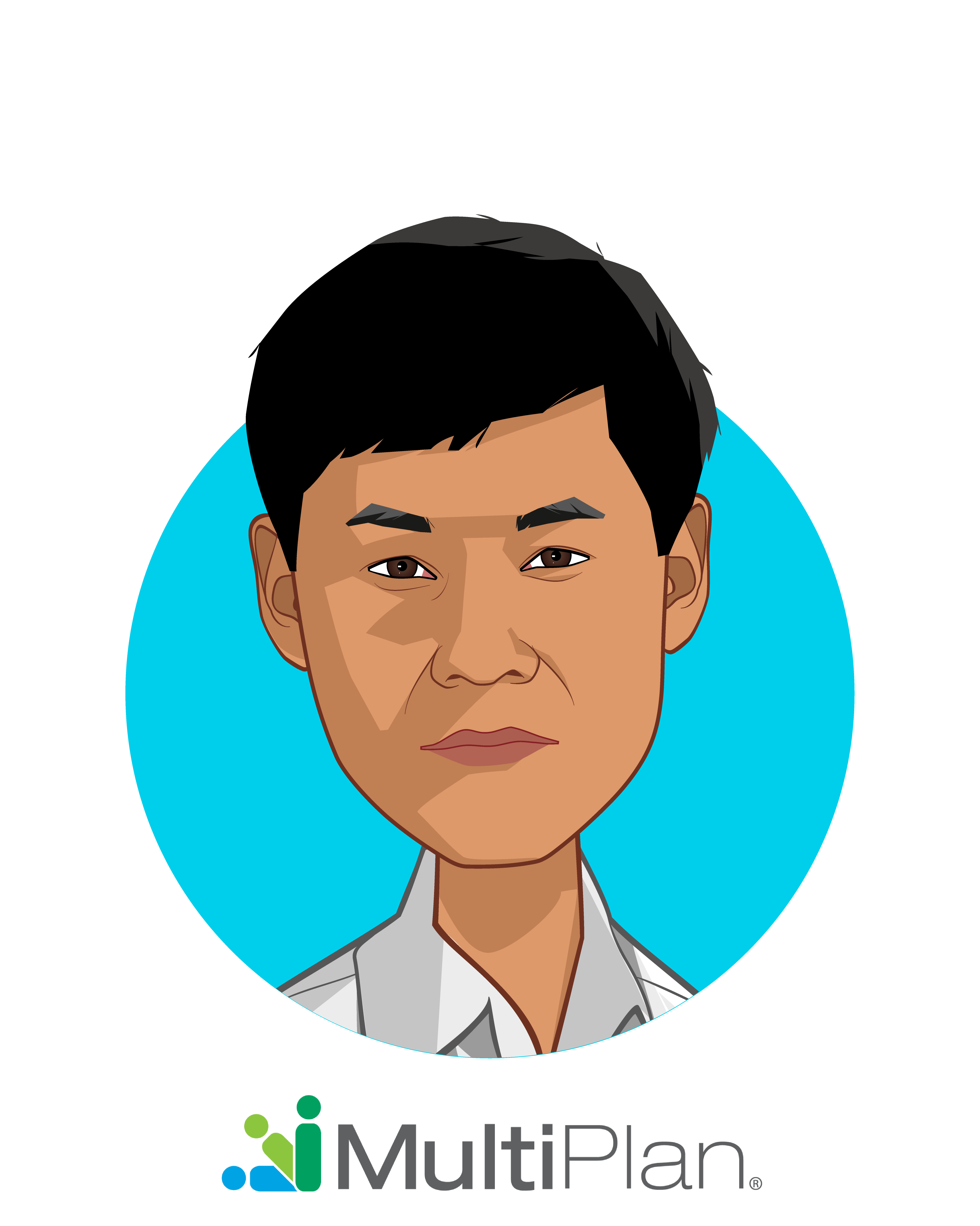 Main caricature of Michael Kim, who is speaking at HLTH and is CIO at MultiPlan