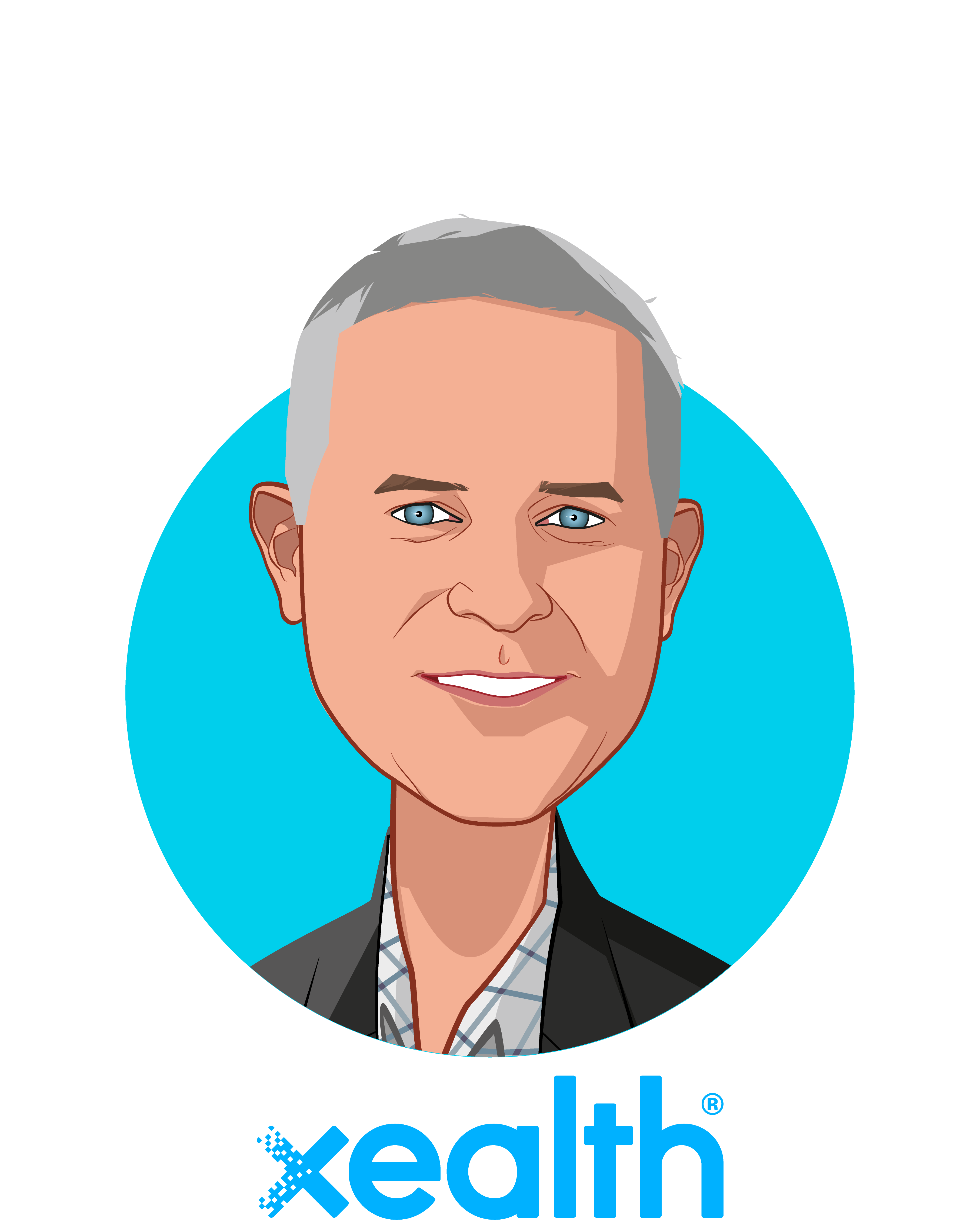 Main caricature of Mike McSherry, who is speaking at HLTH and is CEO at Xealth