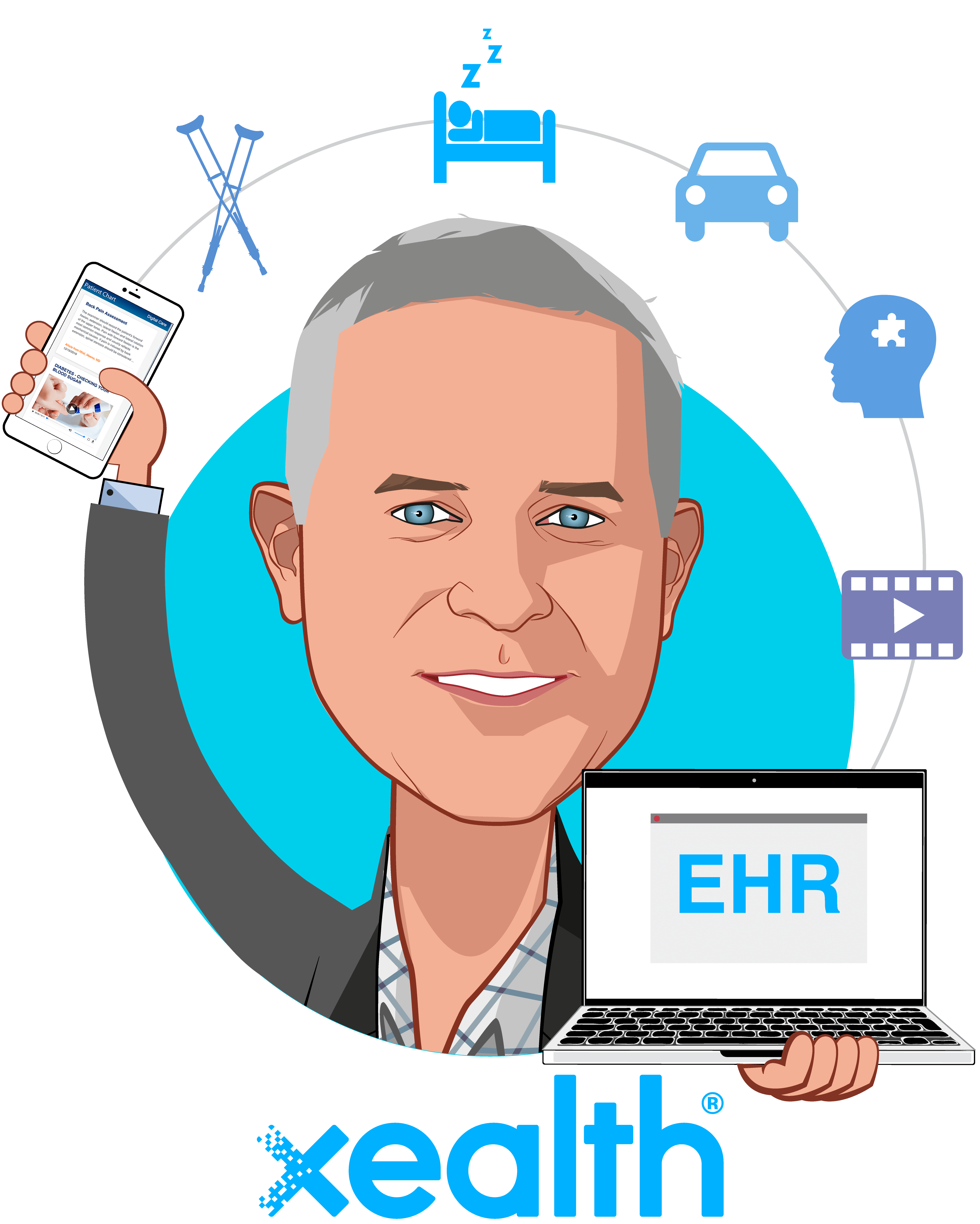 Overlay caricature of Mike McSherry, who is speaking at HLTH and is CEO at Xealth