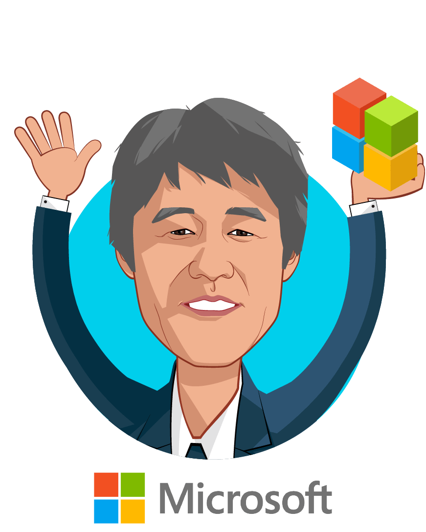 Overlay caricature of Dr. Peter Lee, who is speaking at HLTH and is Corporate Vice President, Microsoft Healthcare at Microsoft