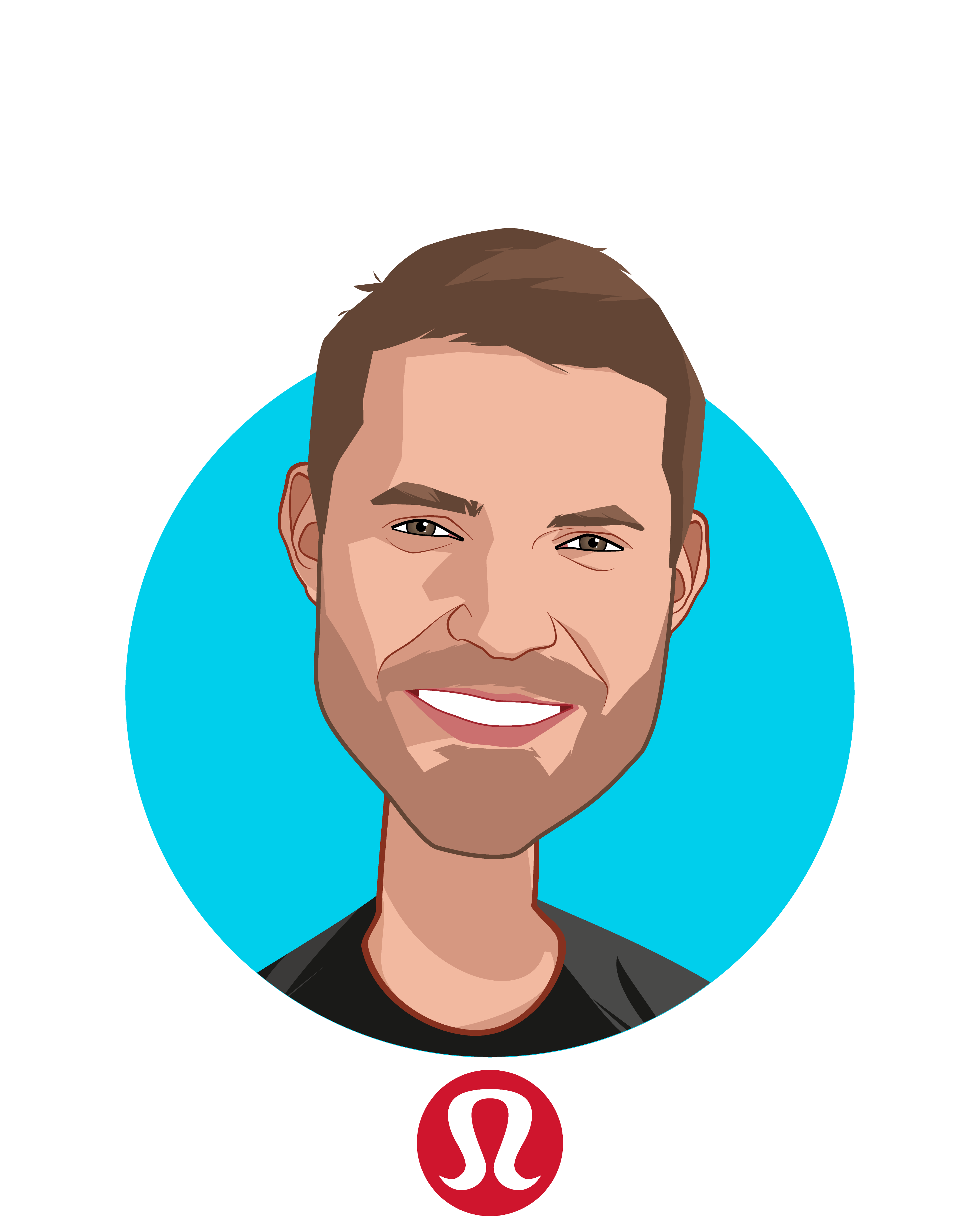 Main caricature of Tom Waller, who is speaking at HLTH and is SVP Whitespace at lululemon