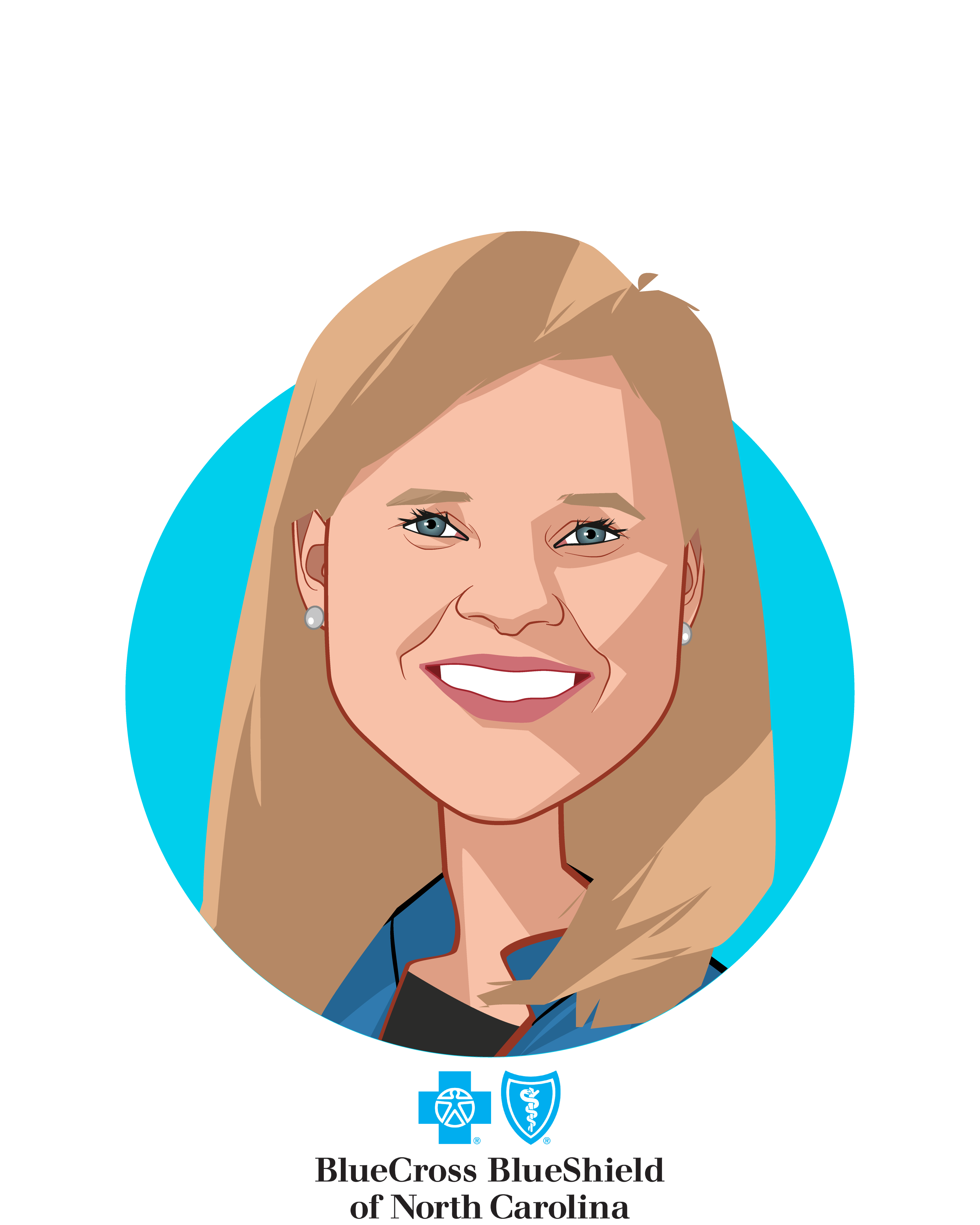 Main caricature of Bryony Winn, who is speaking at HLTH and is Senior Vice President, Chief Strategy and Innovation Officer at Blue Cross and Blue Shield of North Carolina