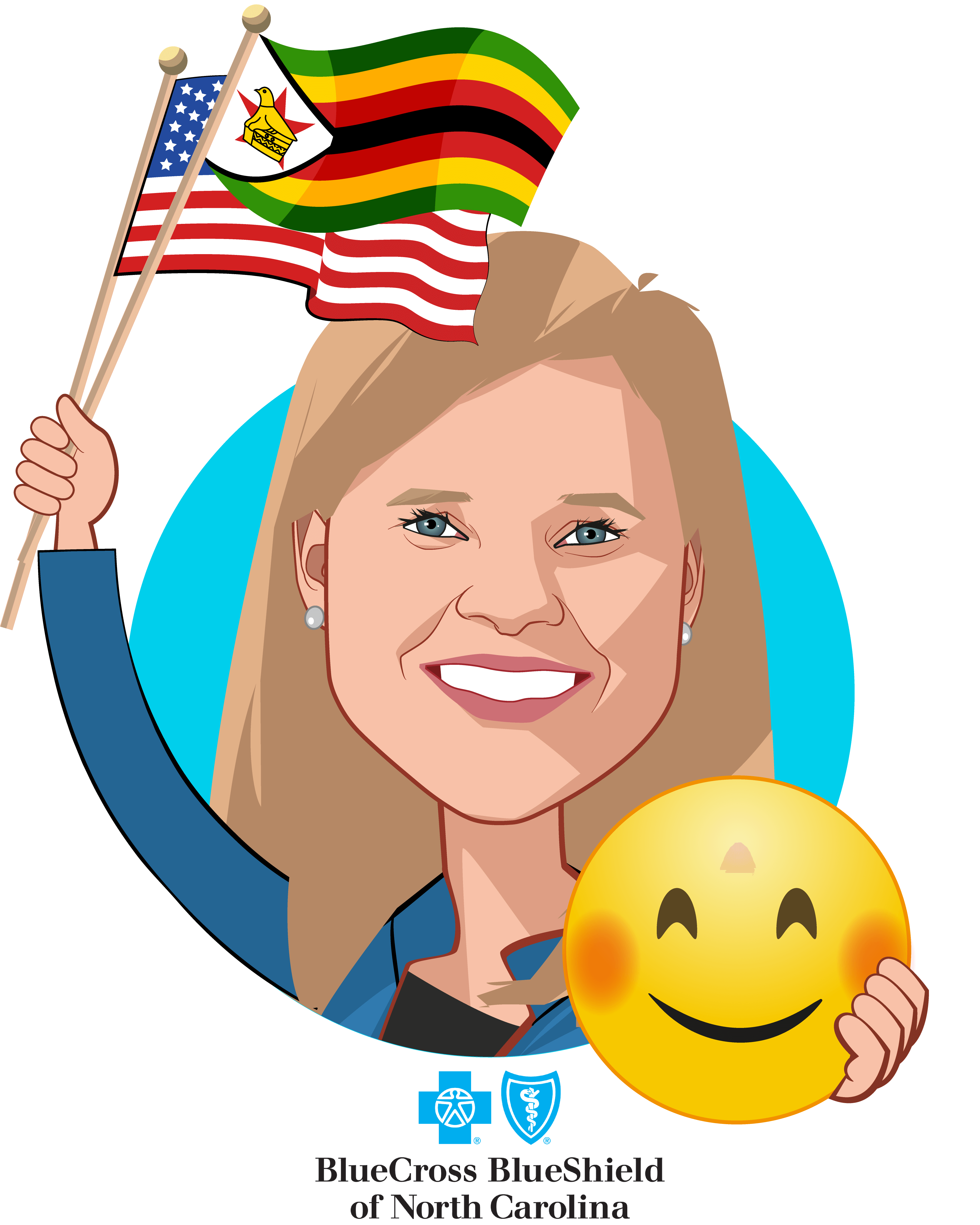 Overlay caricature of Bryony Winn, who is speaking at HLTH and is Senior Vice President, Chief Strategy and Innovation Officer at Blue Cross and Blue Shield of North Carolina