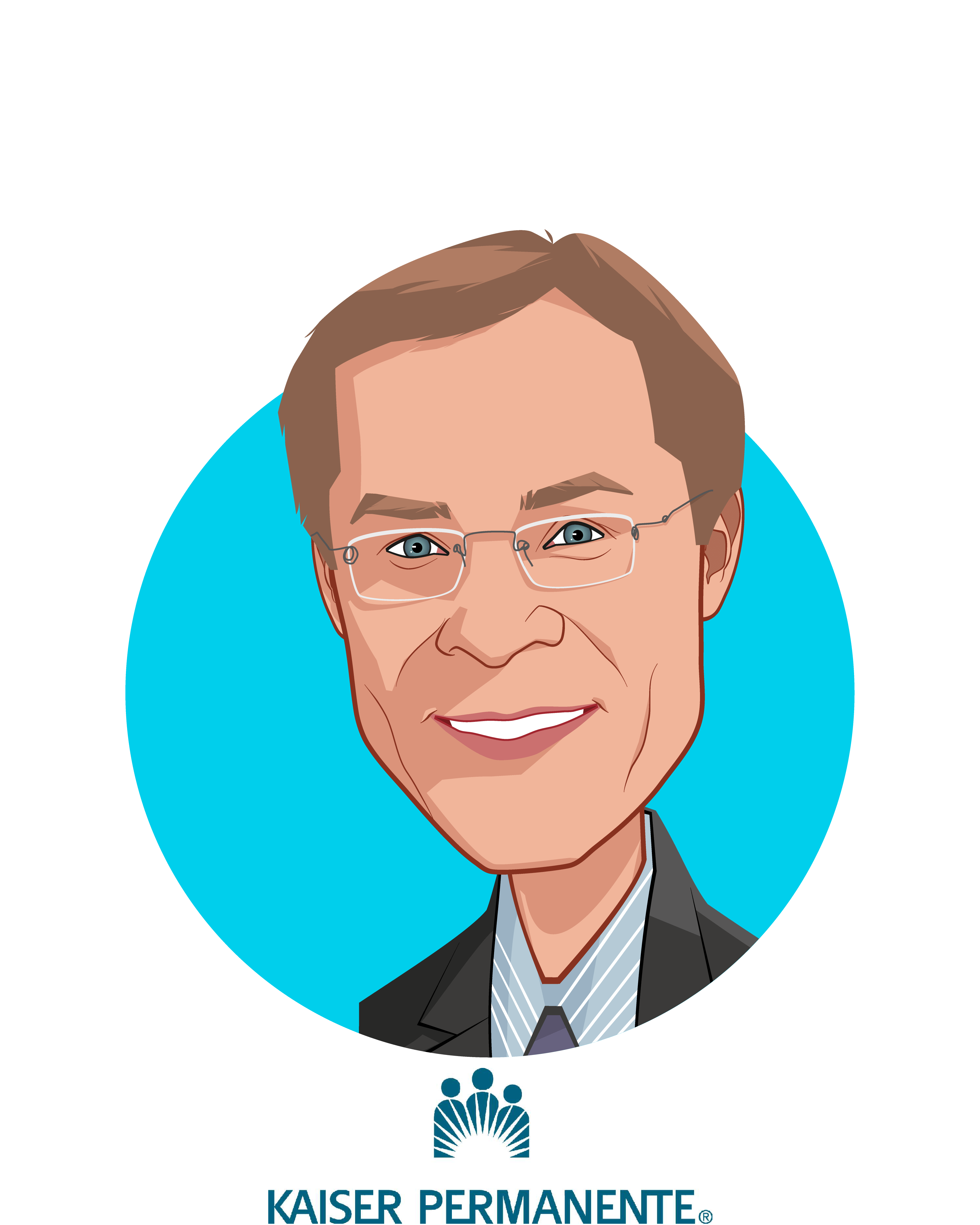 Main caricature of Chris Stenzel, who is speaking at HLTH and is National Vice President, Business Development & Innovation at Kaiser Permanente
