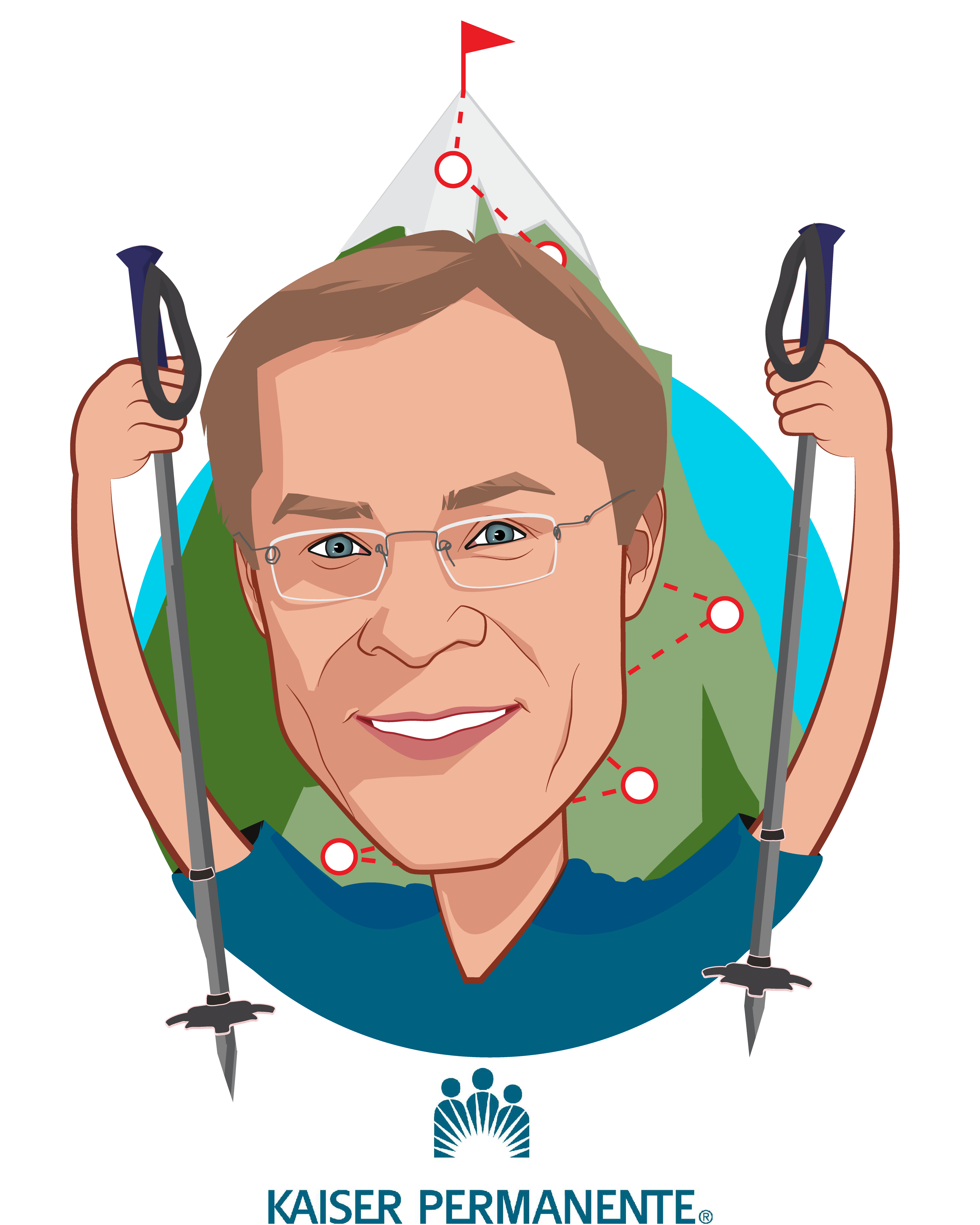 Overlay caricature of Chris Stenzel, who is speaking at HLTH and is National Vice President, Business Development & Innovation at Kaiser Permanente