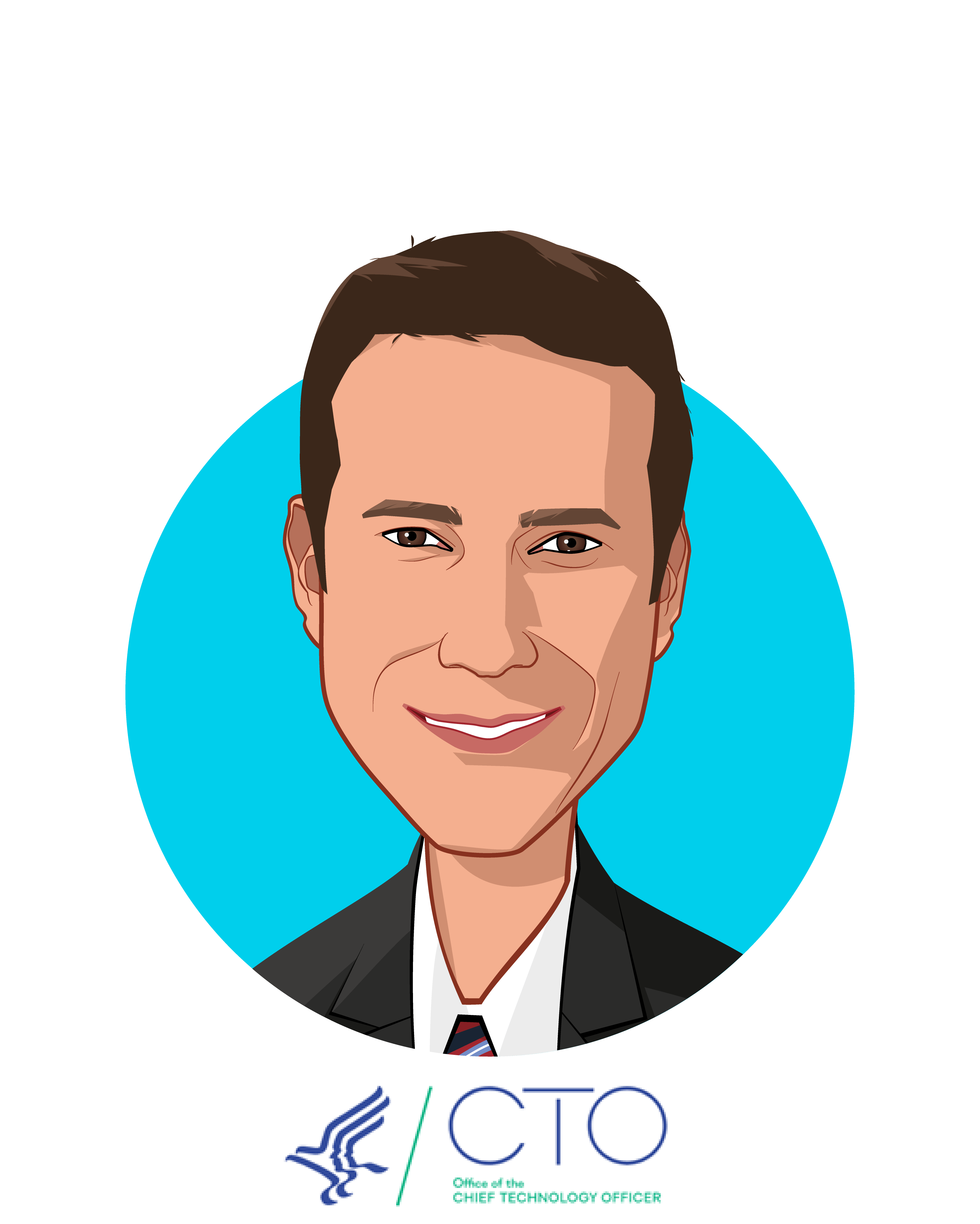 Main caricature of Ed Simcox, who is speaking at HLTH and is CTO at US Department of Health and Human Services