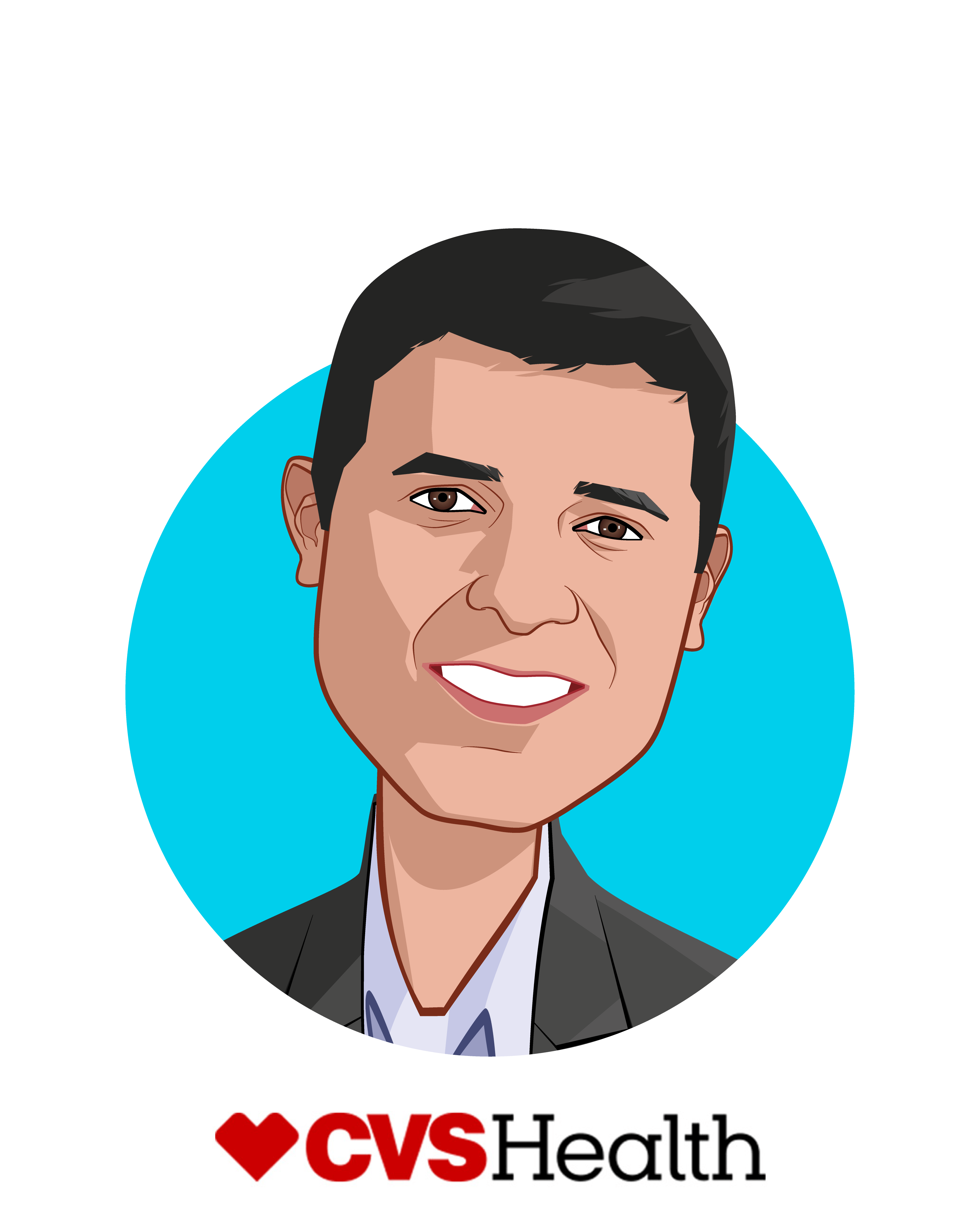 Main caricature of Firdaus Bhathena, who is speaking at HLTH and is SVP, Chief Digital Officer at CVS Health