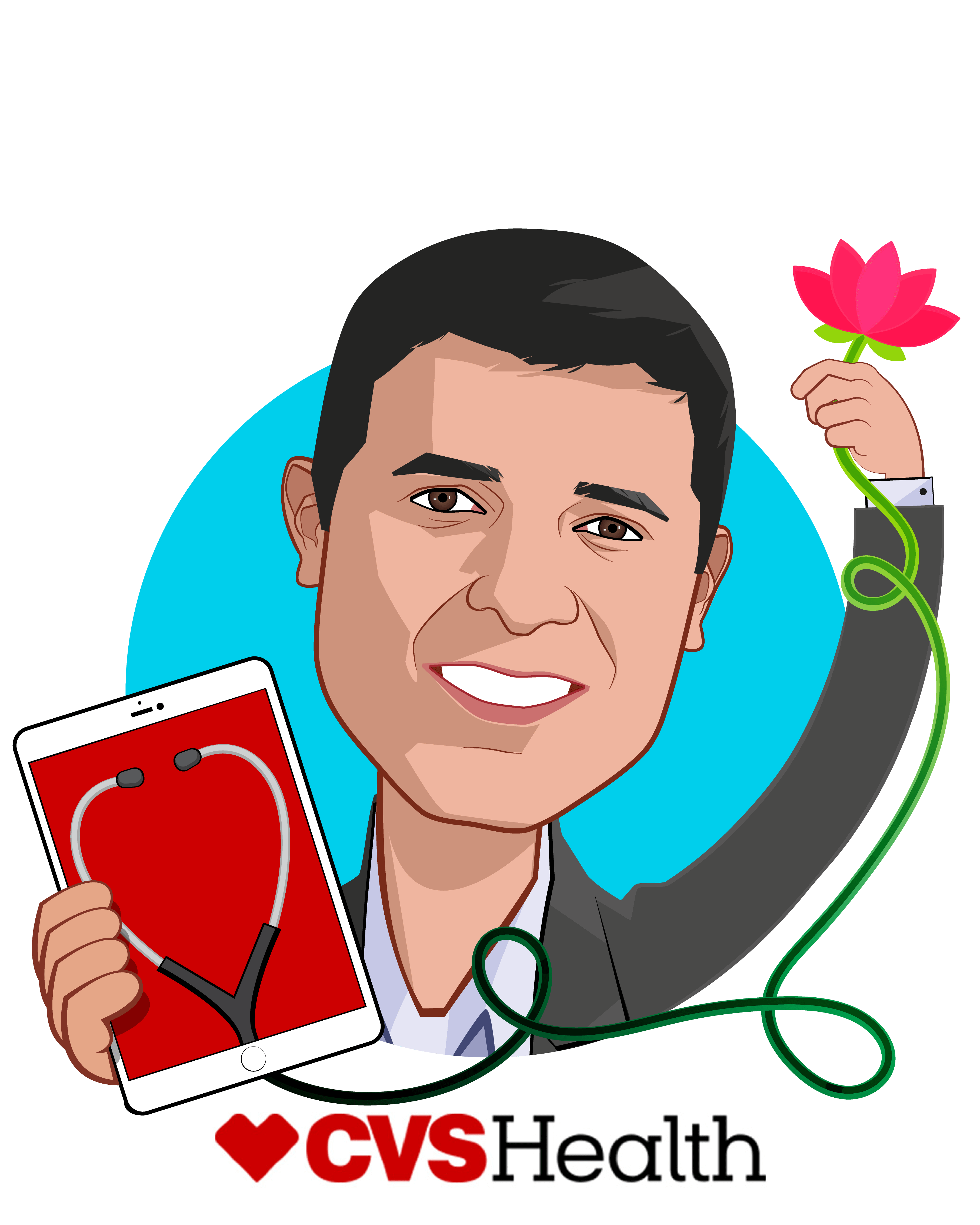 Overlay caricature of Firdaus Bhathena, who is speaking at HLTH and is SVP, Chief Digital Officer at CVS Health