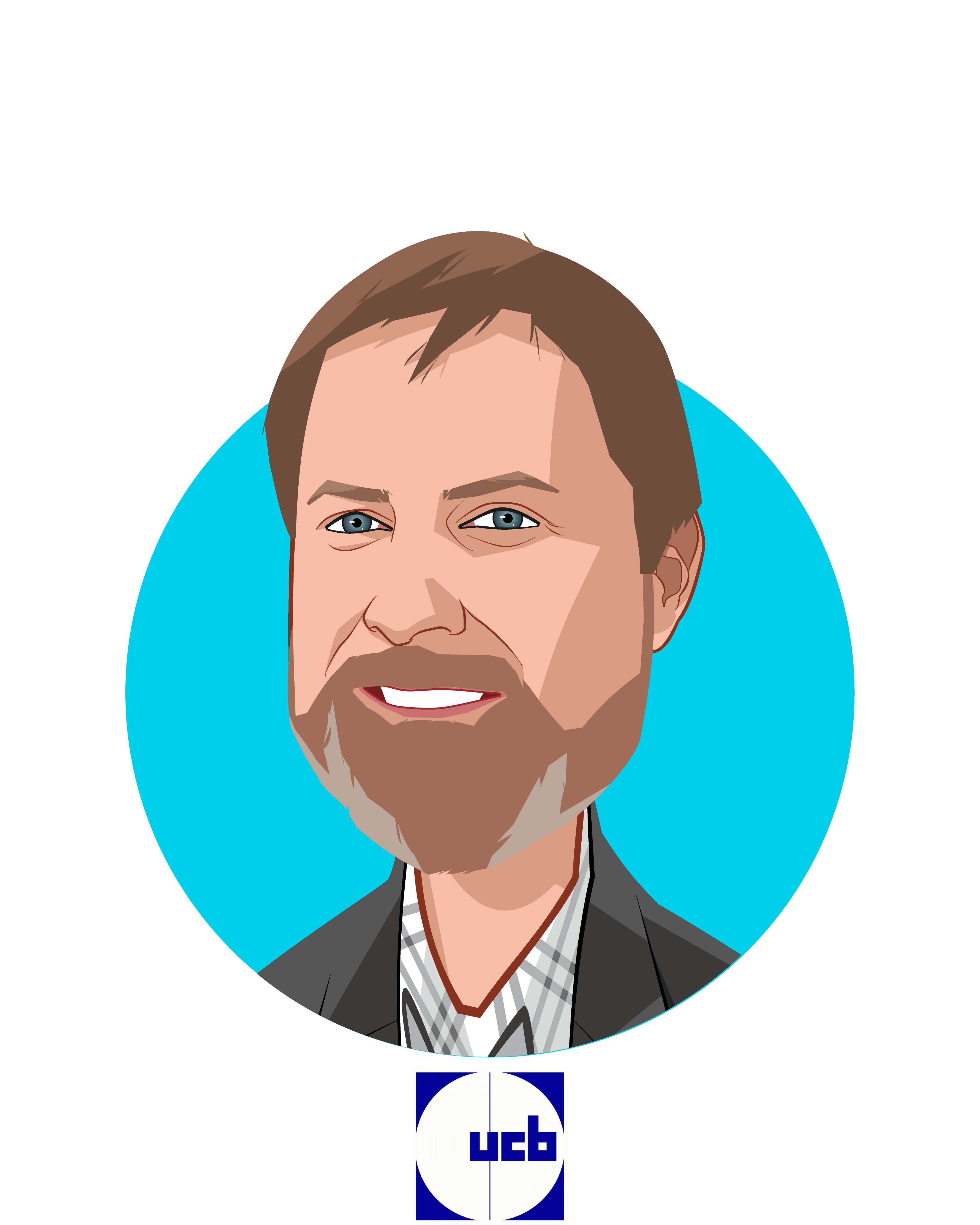 Main caricature of James Musick, PhD, who is speaking at HLTH and is VP/Head of Patient Technology at UCB