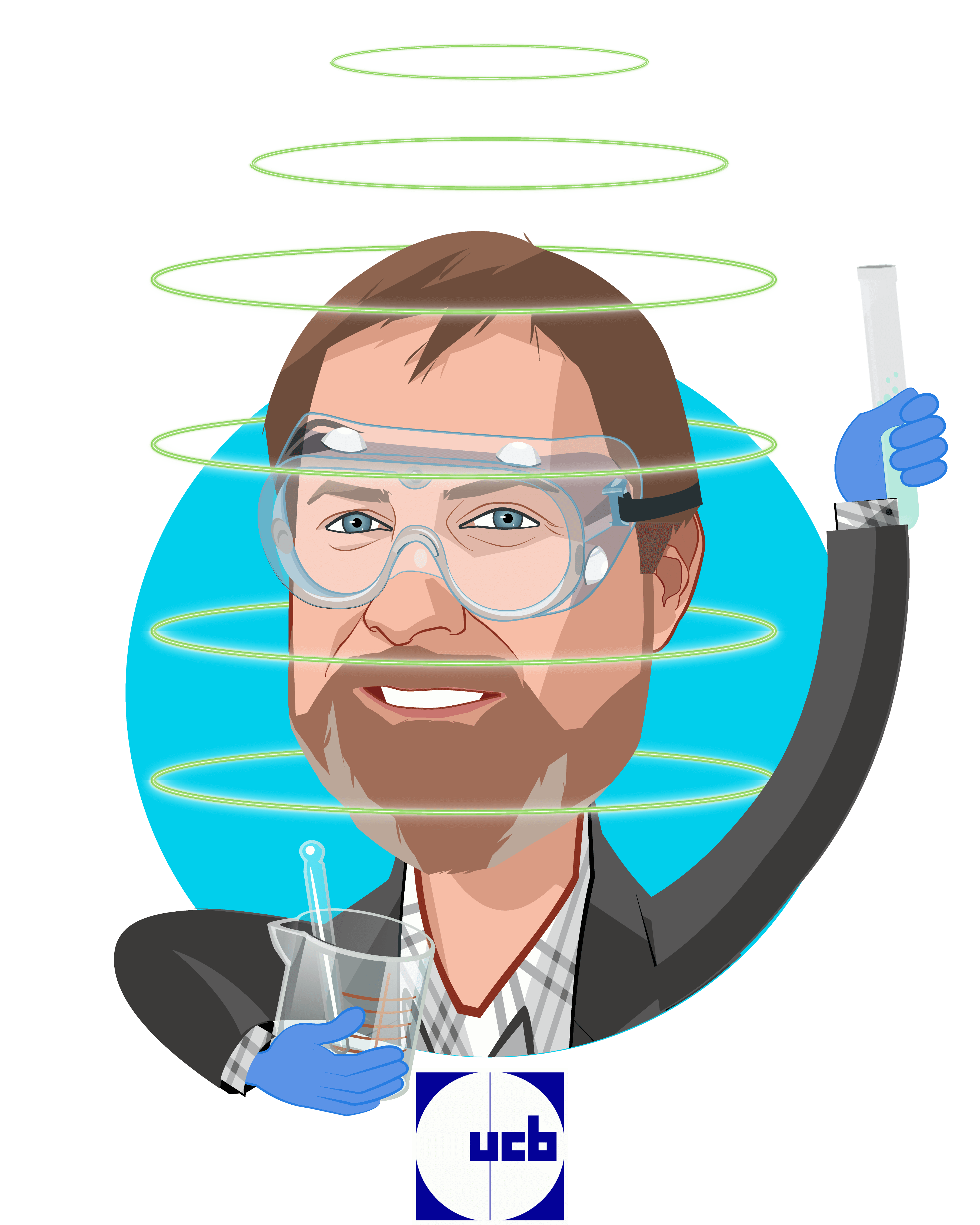 Overlay caricature of James Musick, PhD, who is speaking at HLTH and is VP/Head of Patient Technology at UCB