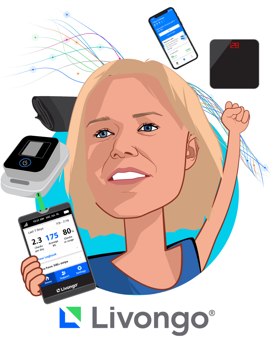 Overlay caricature of Jennifer Schneider, M.D., M.S., who is speaking at HLTH and is President at Livongo